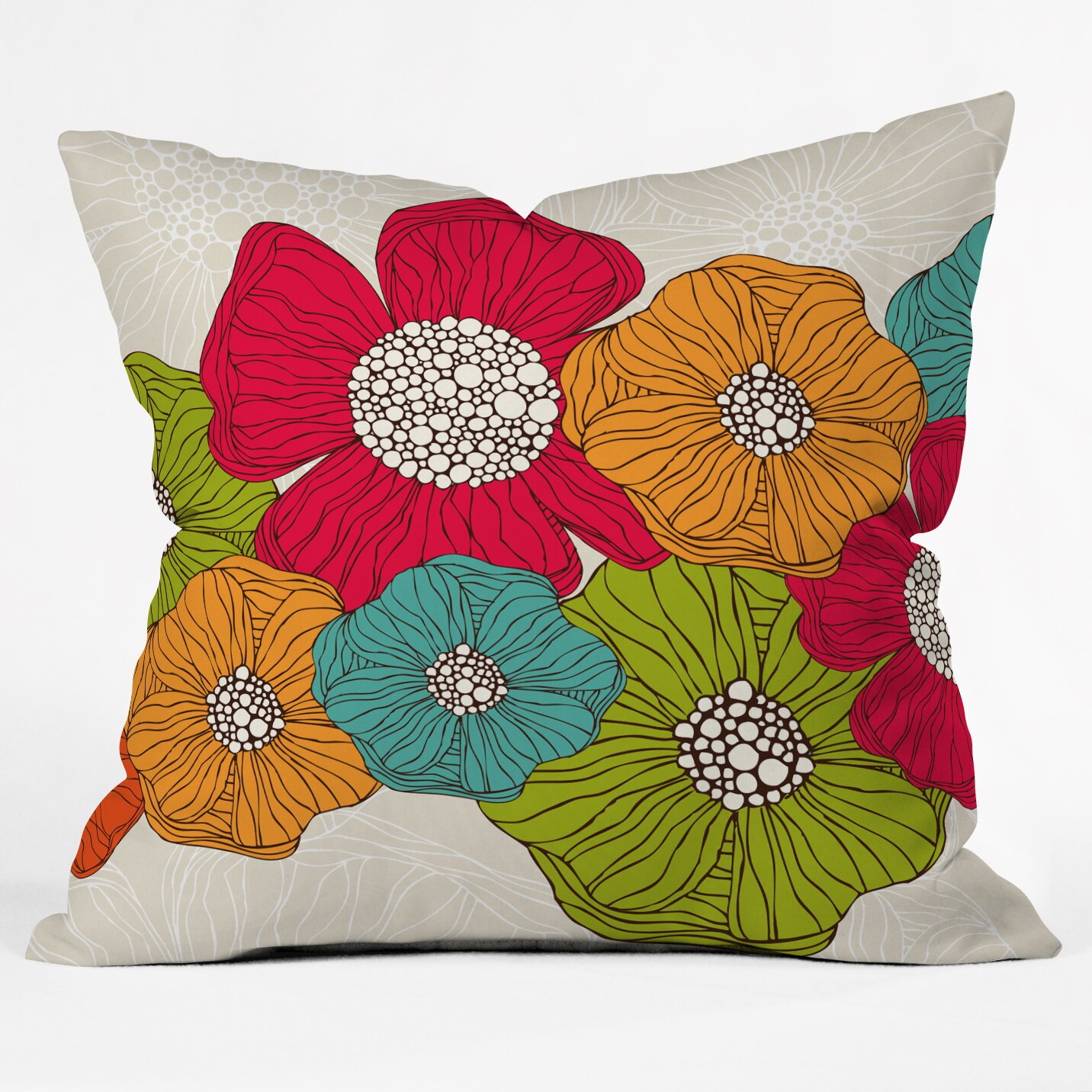 DENY Designs Valentina Ramos Flowers Throw Pillow & Reviews Wayfair