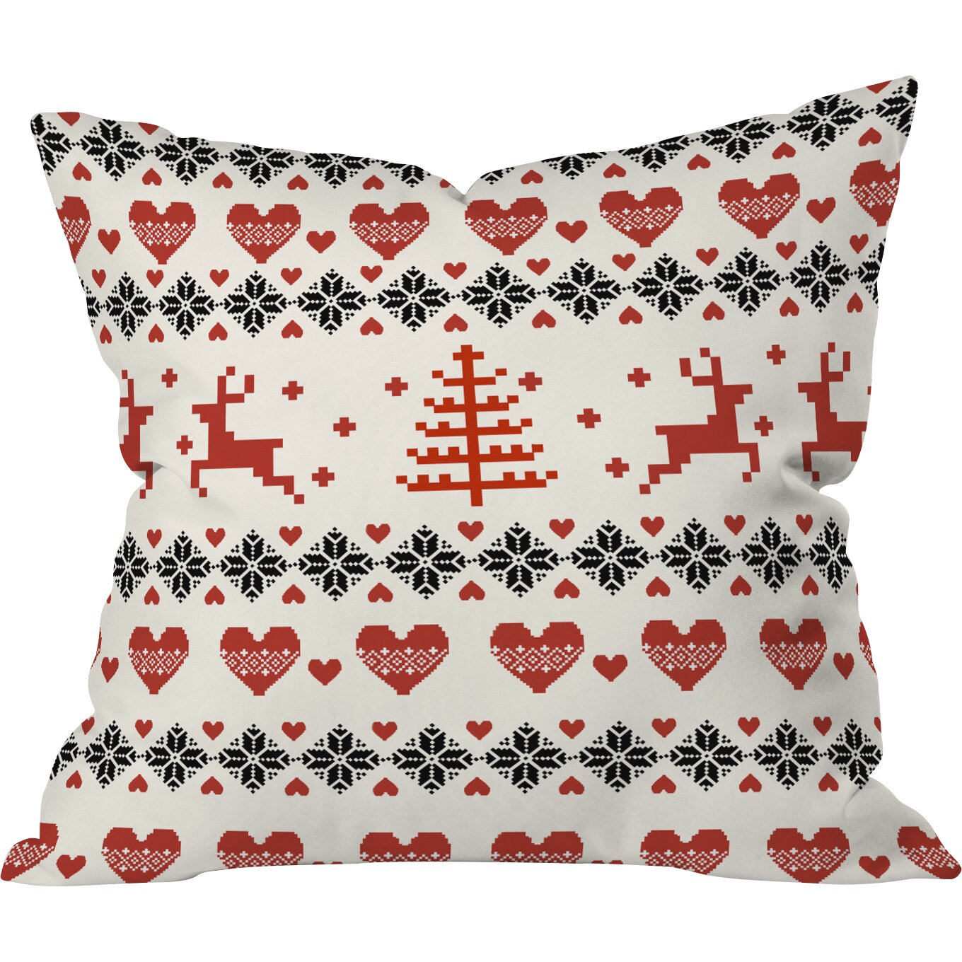DENY Designs Natt Knitting Deer White Hearts Throw Pillow Wayfair