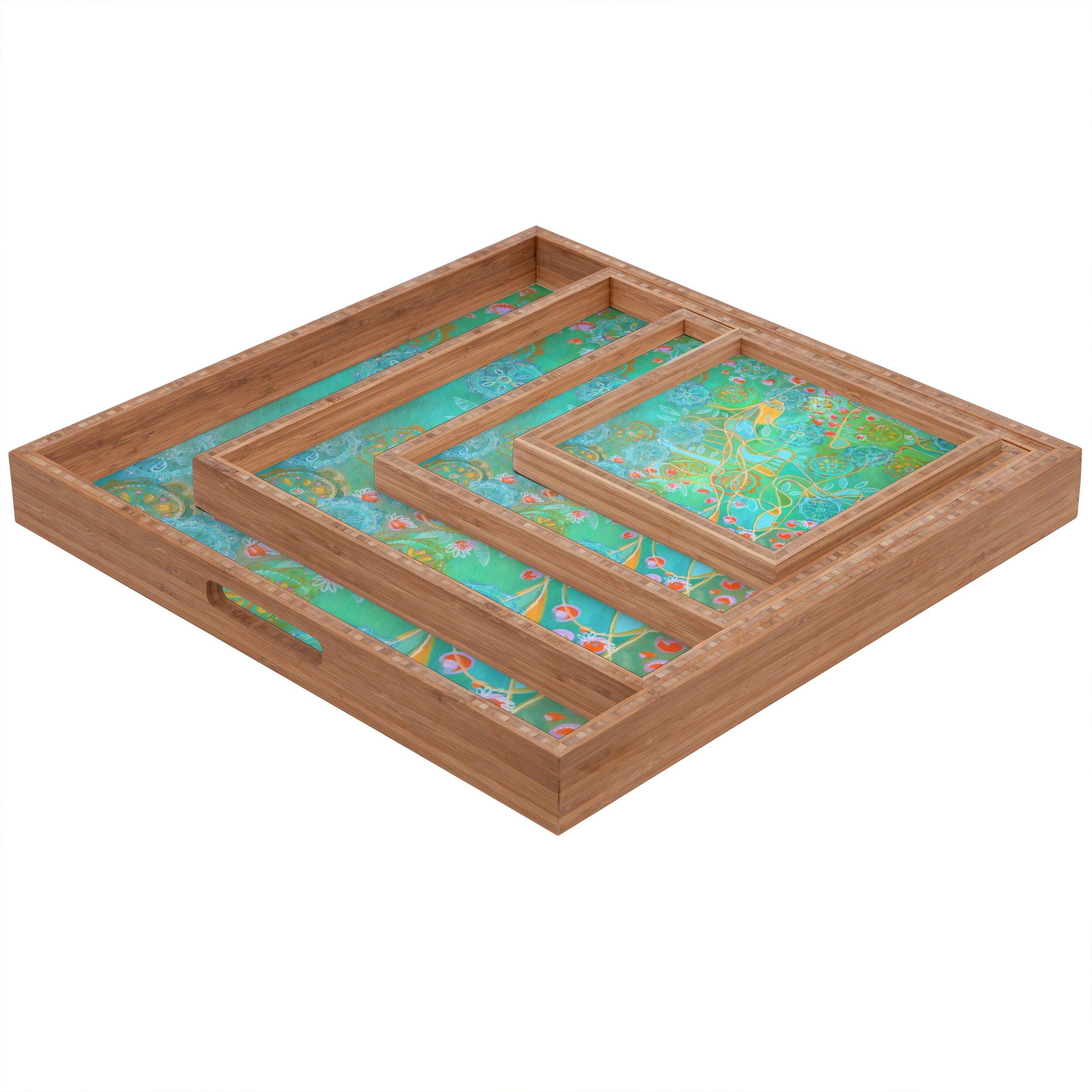 Deny designs stephanie corfee secret garden square tray for Tray garden designs