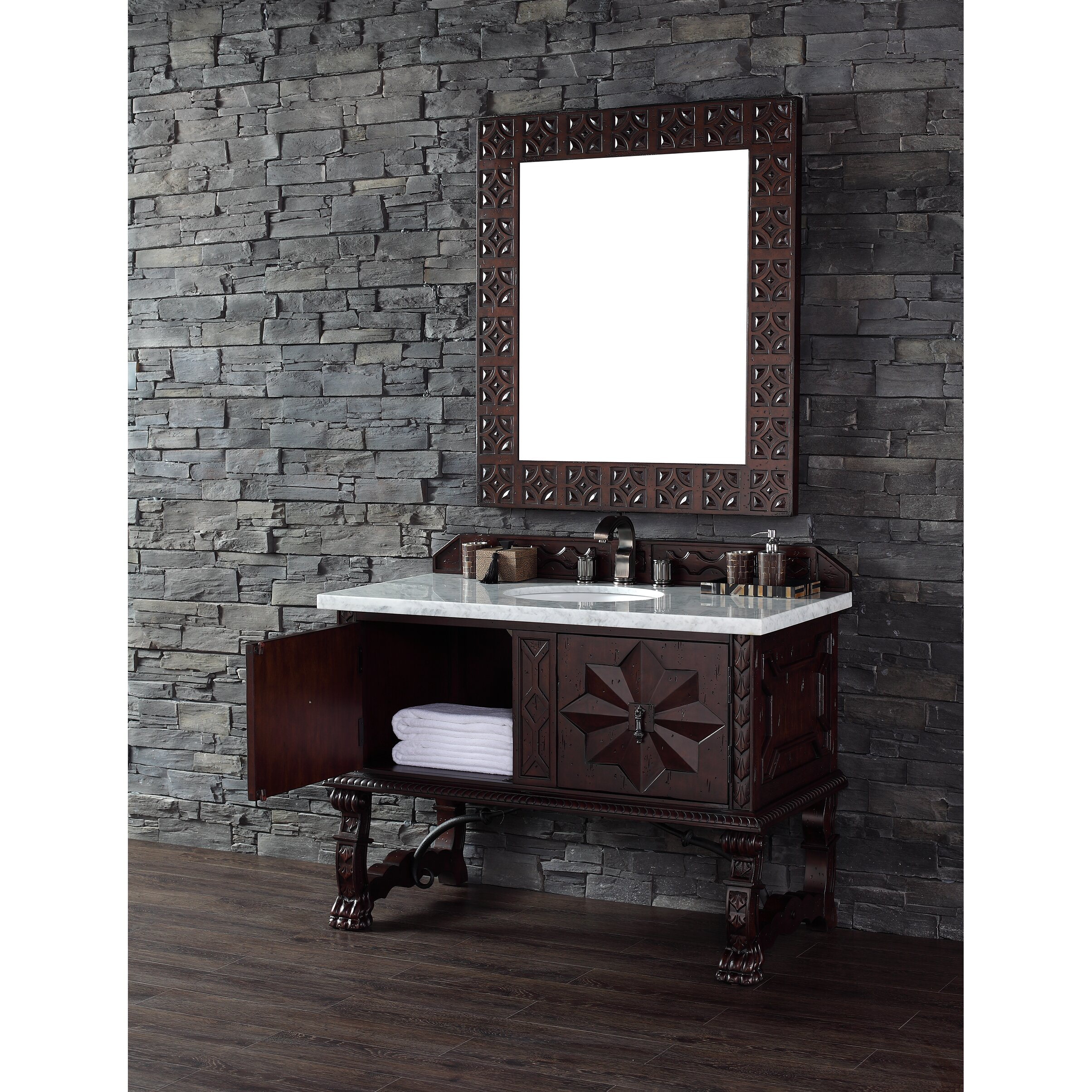 "James Martin Furniture Balmoral 48"" Single Antique Walnut Bathroom Vanit"