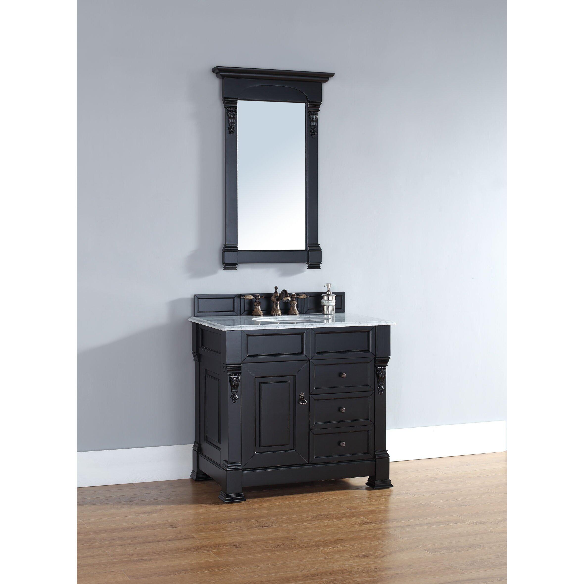 brookfield 36 single antique black bathroom vanity set with drawers