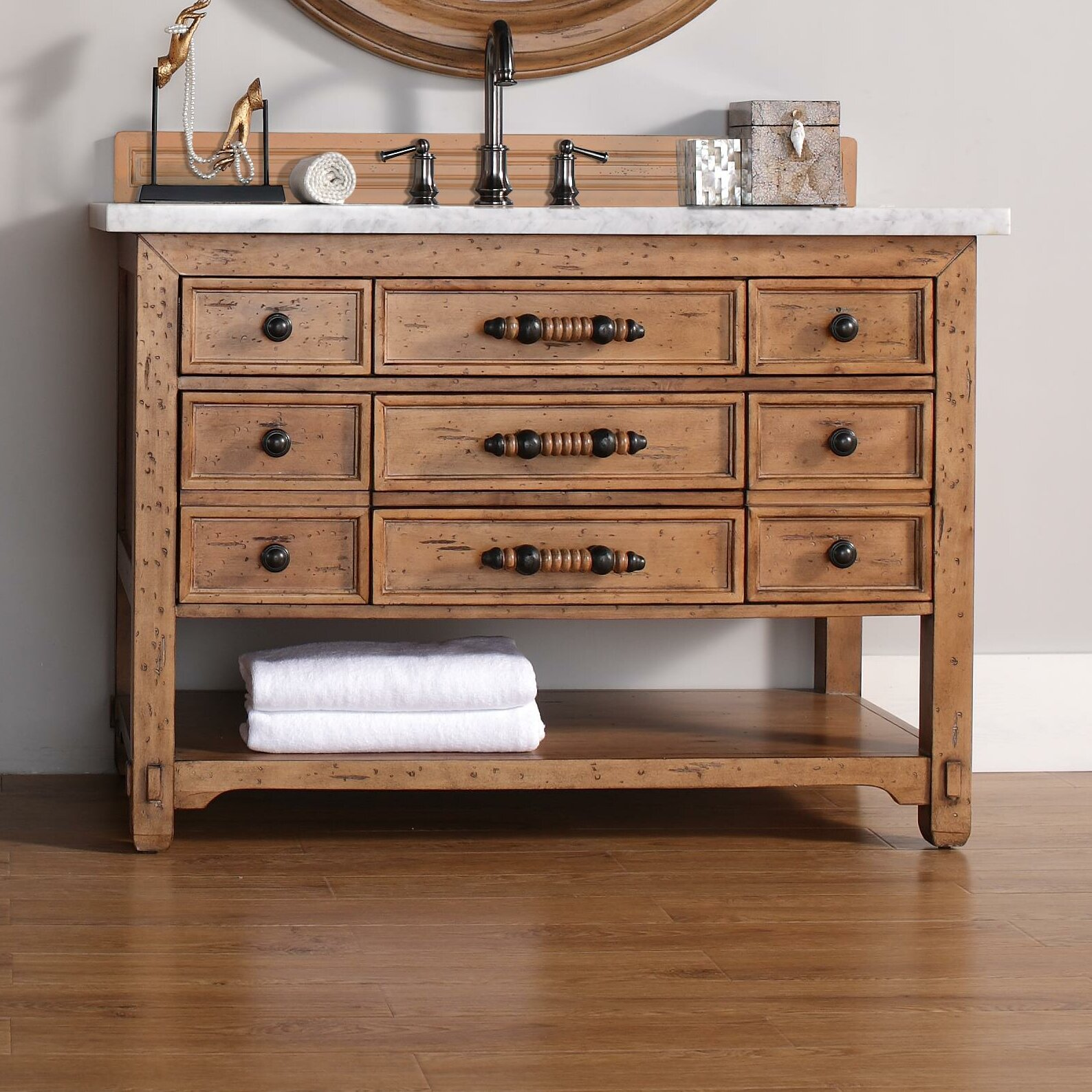 James Martin Furniture Malibu 48 Single Honey Alder