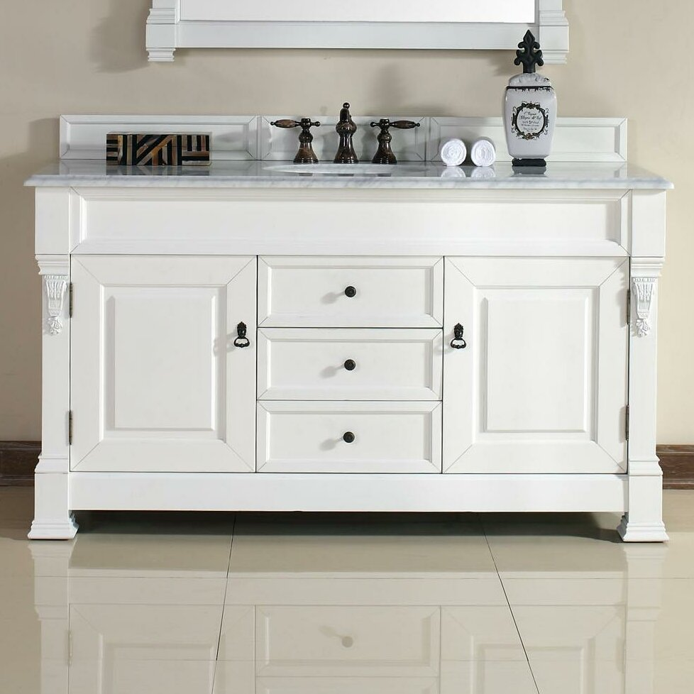 James martin furniture brookfield 60 single cottage white for Bathroom furniture drawers