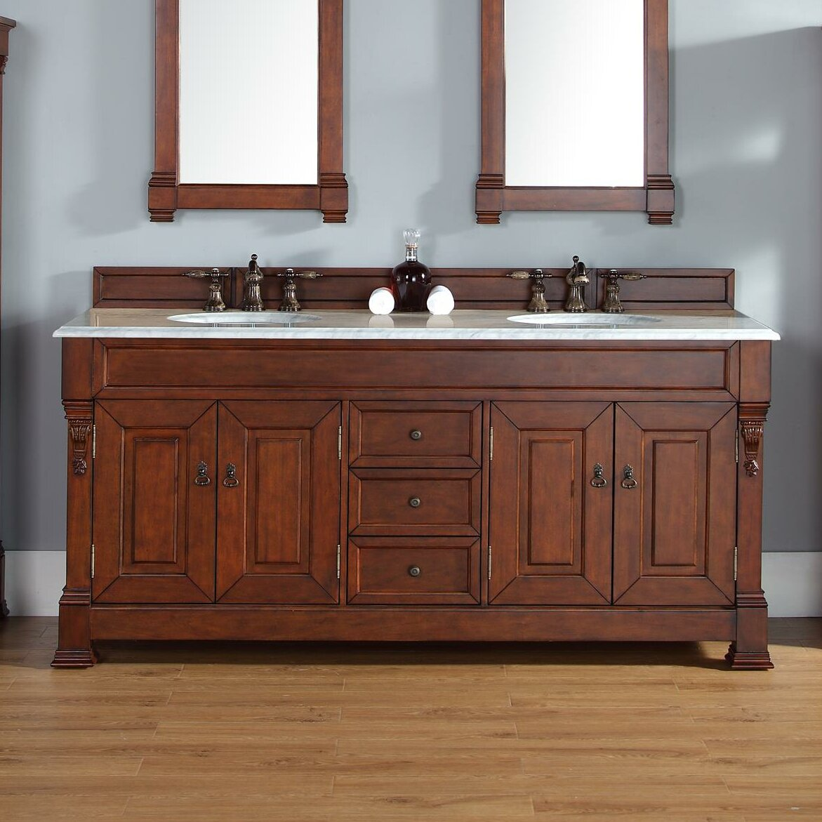 James martin furniture brookfield 72 double warm cherry for Small bathroom vanity with drawers