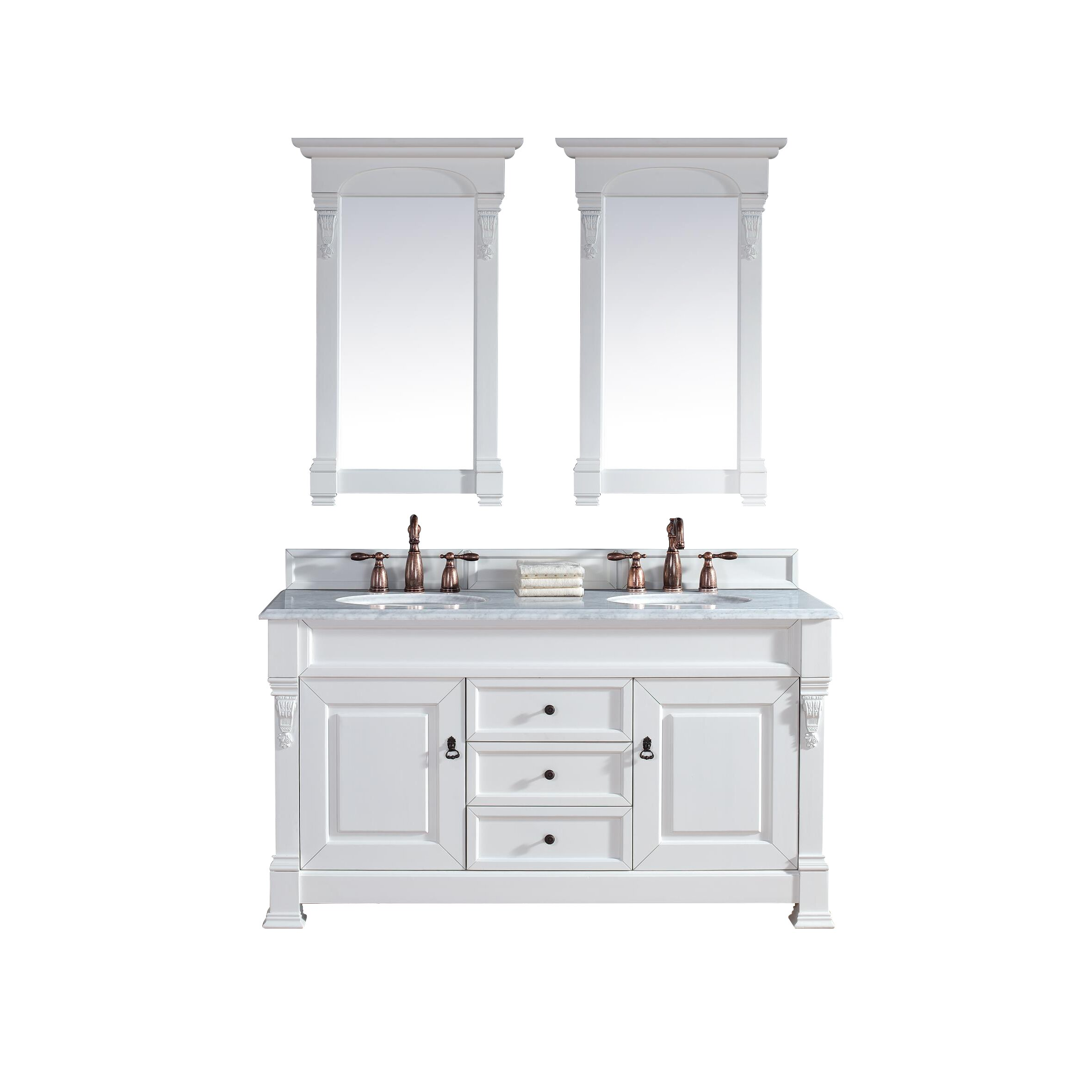 brookfield 60 double cottage white bathroom vanity set with drawers
