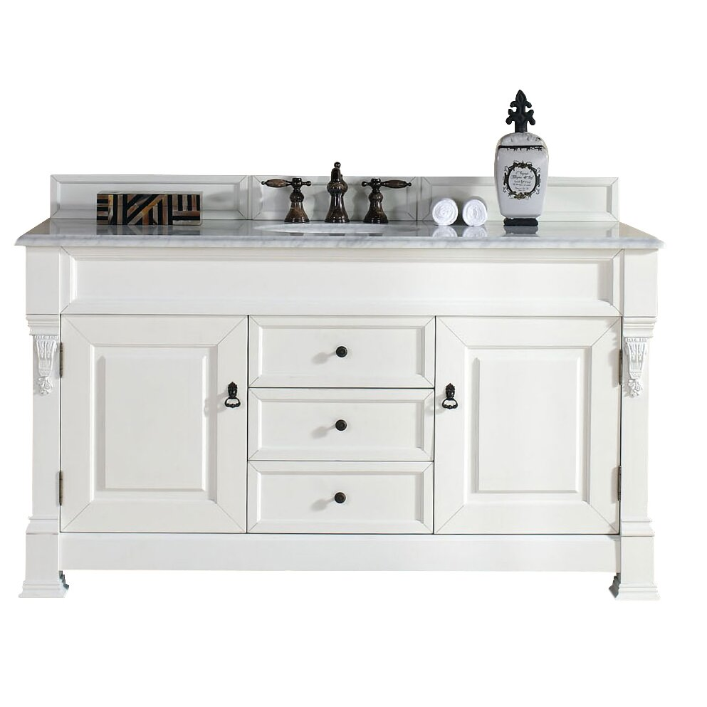 James martin furniture brookfield 60 single cottage white - Bathroom vanities with drawers only ...