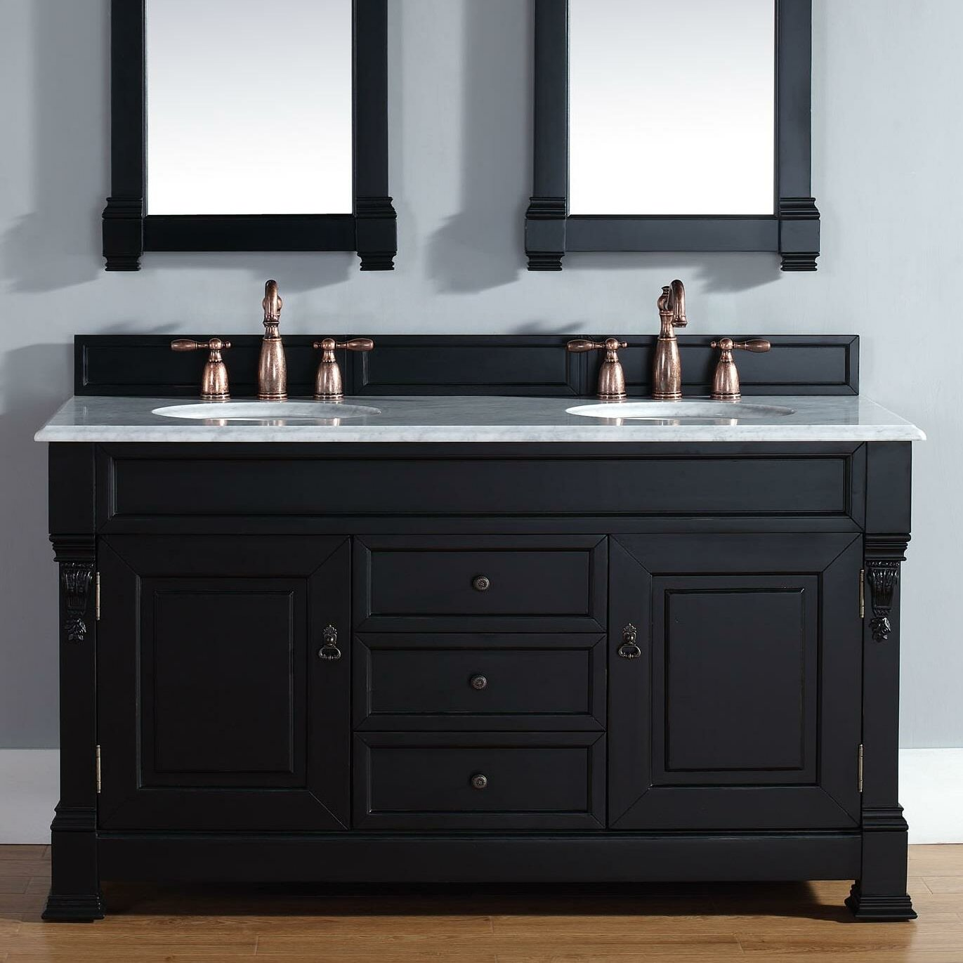 James Martin Furniture Brookfield 60 Double Antique Black Bathroom Vanity Set With Drawers