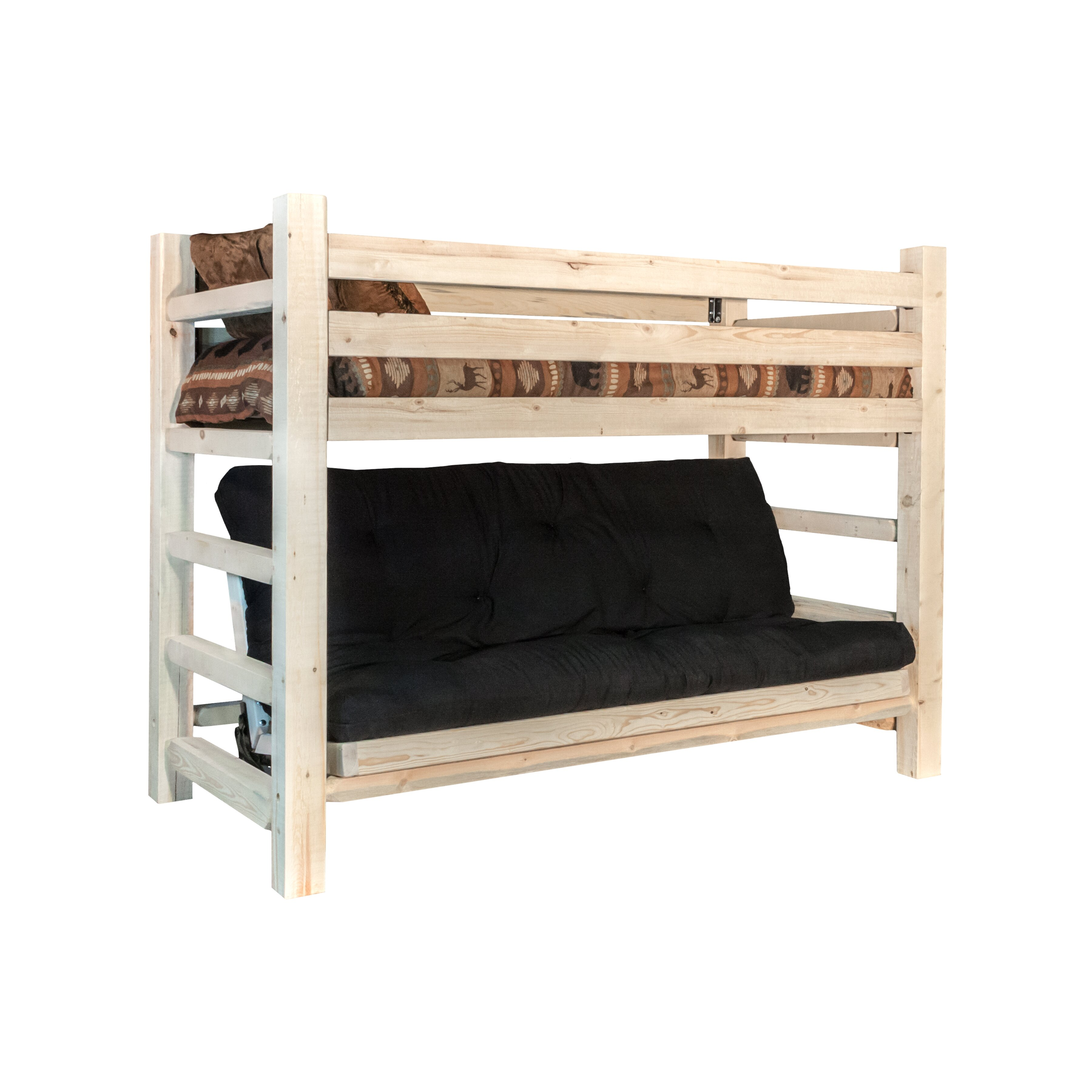 Montana woodworks homestead twin futon bunk bed for Bunk bed frame with mattress