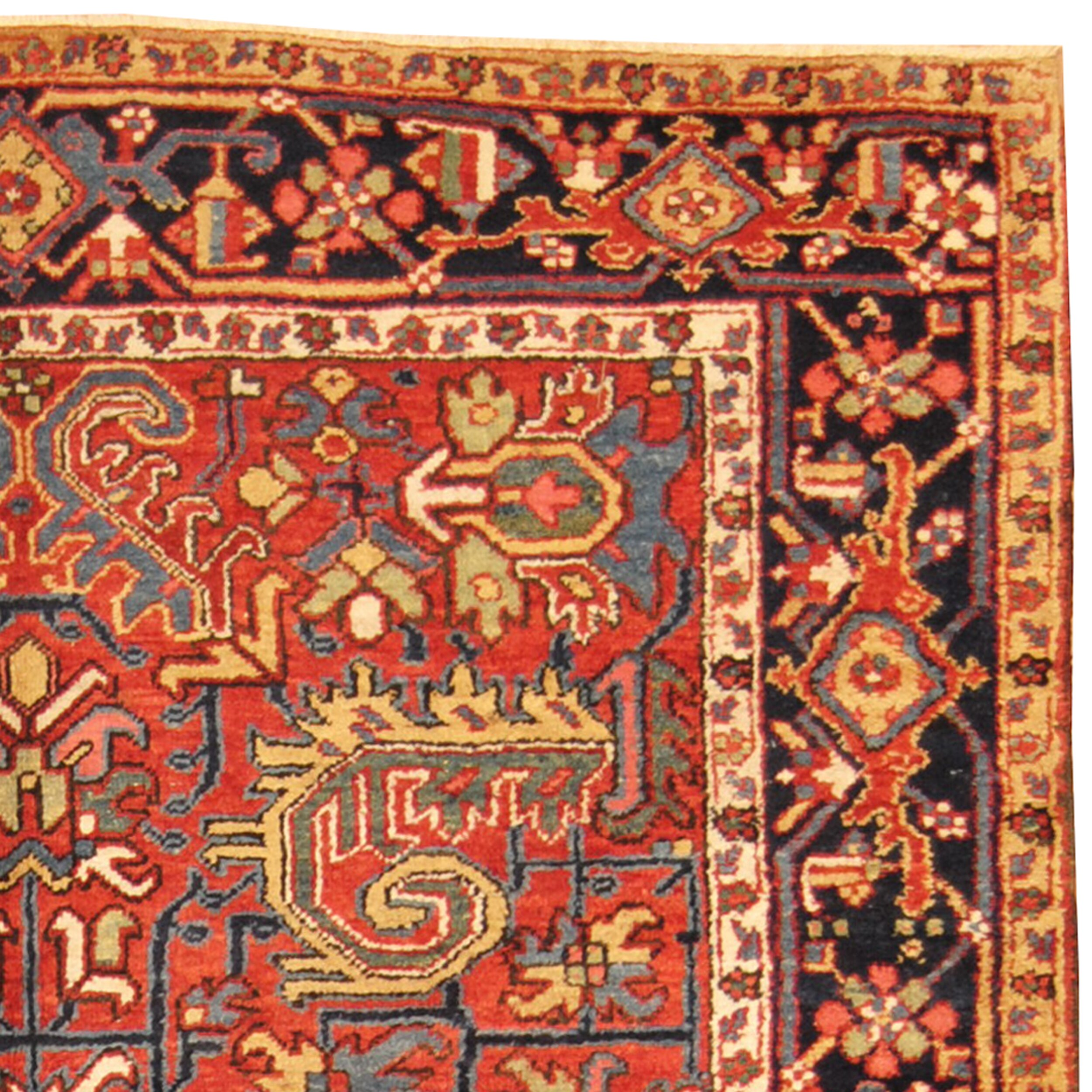 Herat Oriental Persian Heriz Hand-Knotted Red/Navy Area