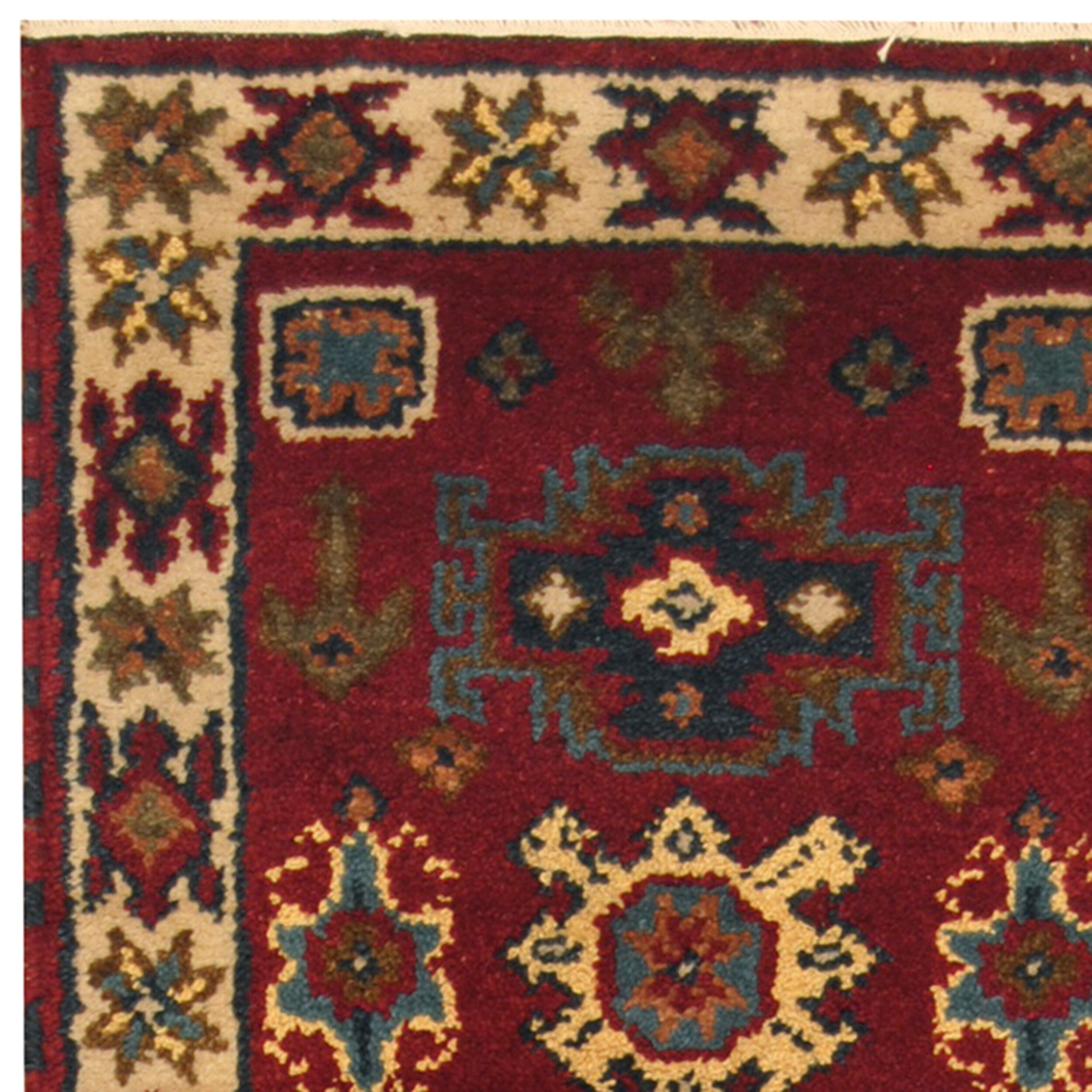 Herat Oriental Hand Tufted Wool Red Black Area Rug: Herat Oriental Kazak Hand-Knotted Red/Ivory Area Rug