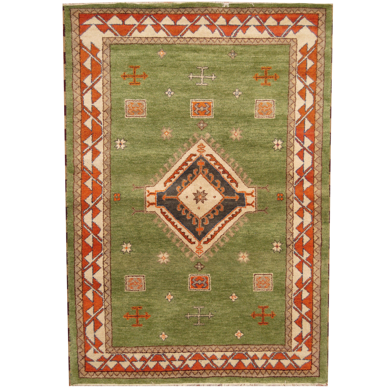 Herat Oriental Kazak Hand-Knotted Green/Rust Area Rug