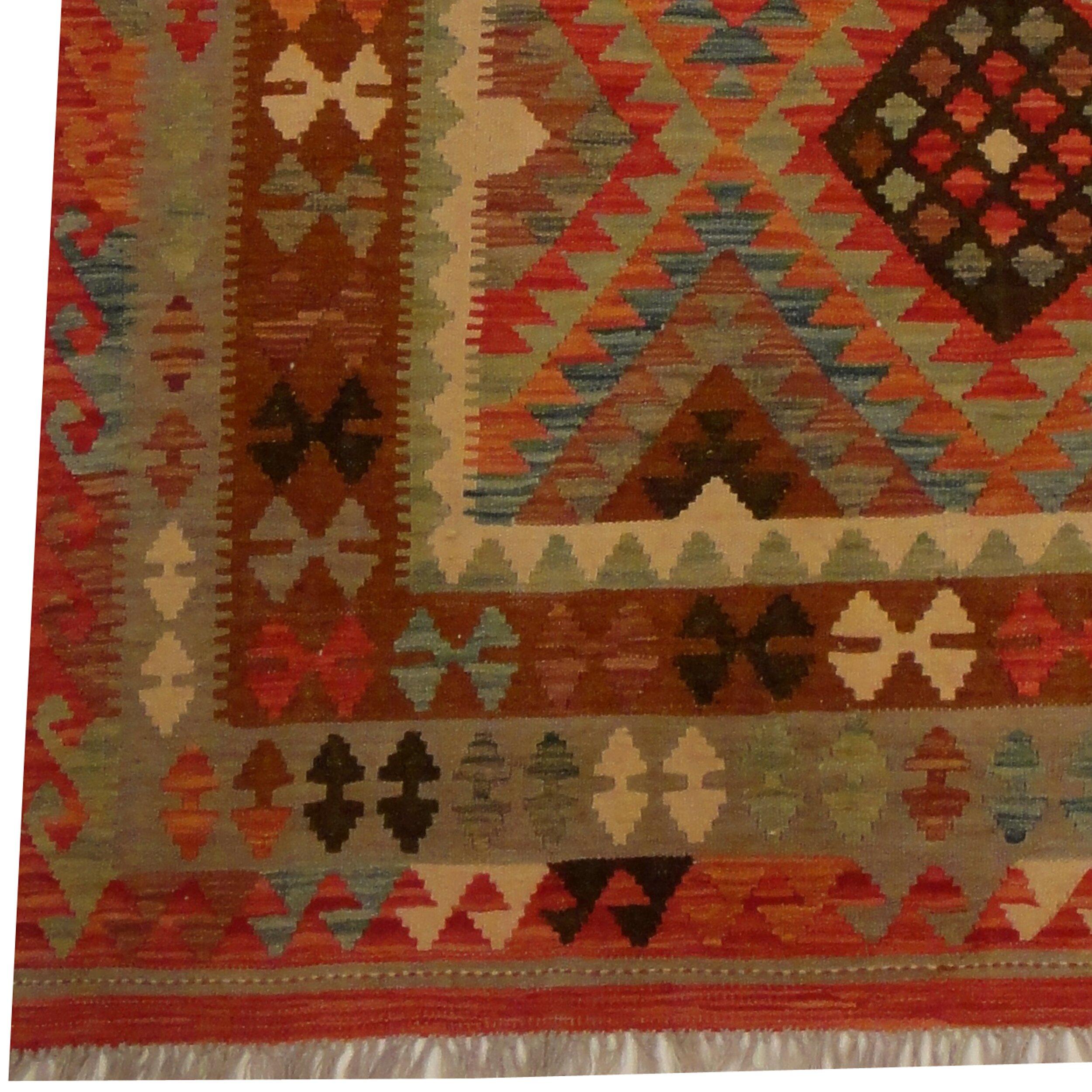 herat oriental kilim hand woven gray red area rug wayfair. Black Bedroom Furniture Sets. Home Design Ideas
