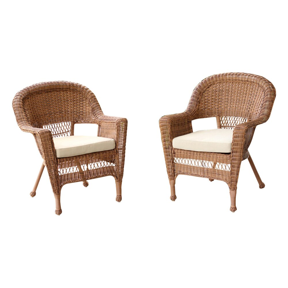 Jeco inc wicker chair with cushion reviews wayfair for Rattan wicker chair