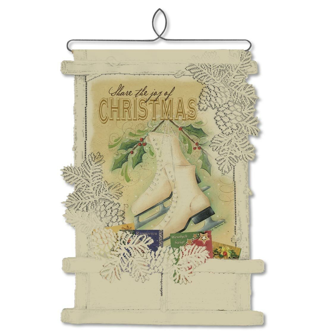Heritage Lace Joy Of Christmas Card Holder Wall Hanging