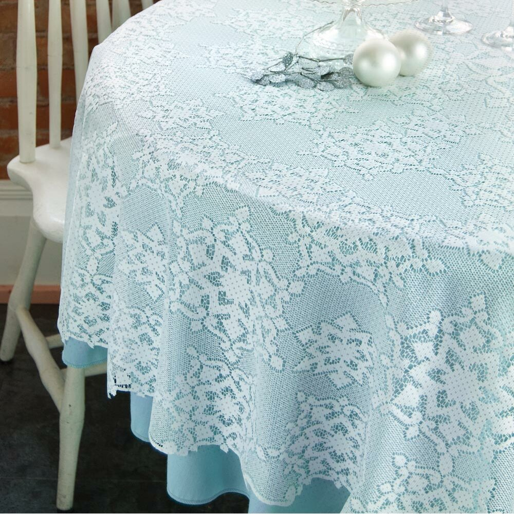 Heritage Lace Glisten With Glitter Round Tablecloth