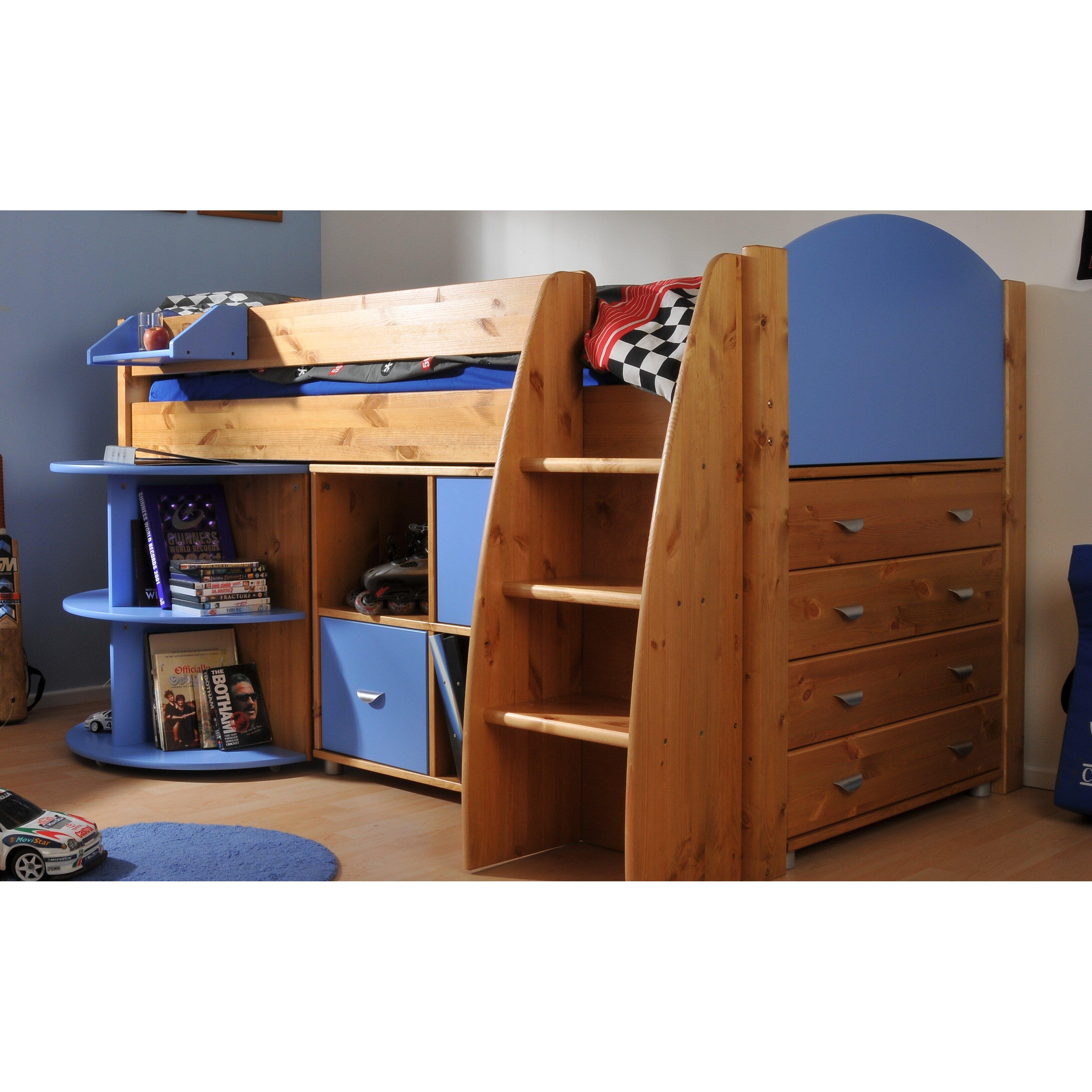 Stompa Rondo European Single Mid Sleeper Bed With Storage