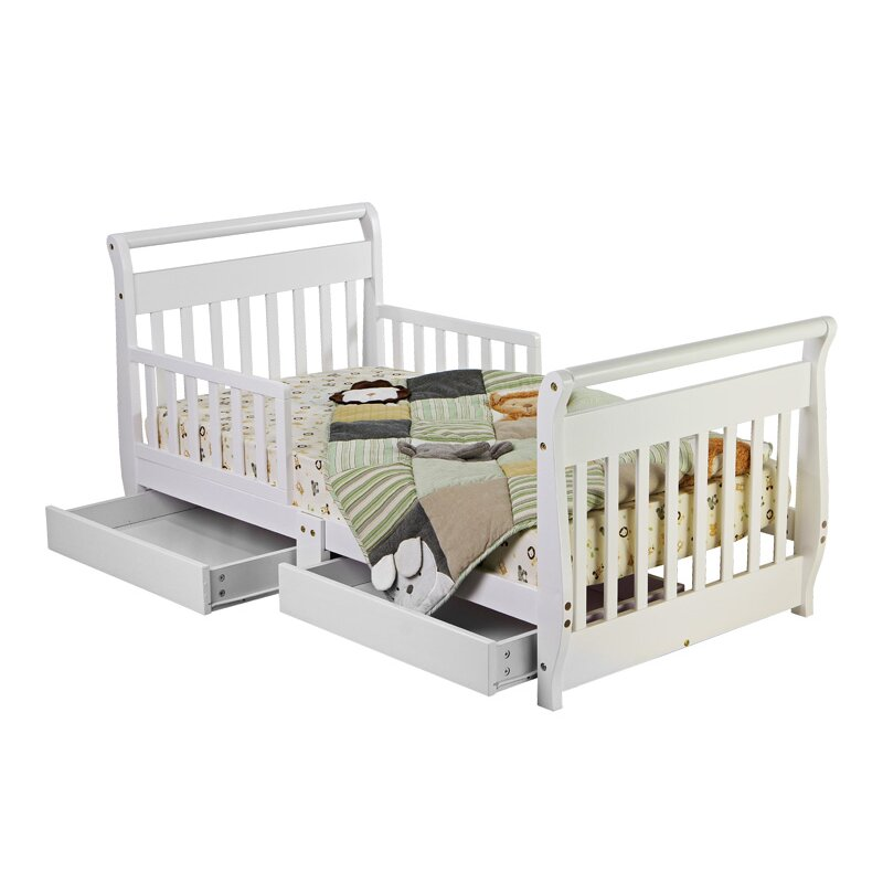 Dream On Me Convertible Toddler Bed with Storage amp Reviews  : Dream On Me Sleigh Toddler Bed with Storage Drawer 643 PC from www.wayfair.com size 800 x 800 jpeg 72kB