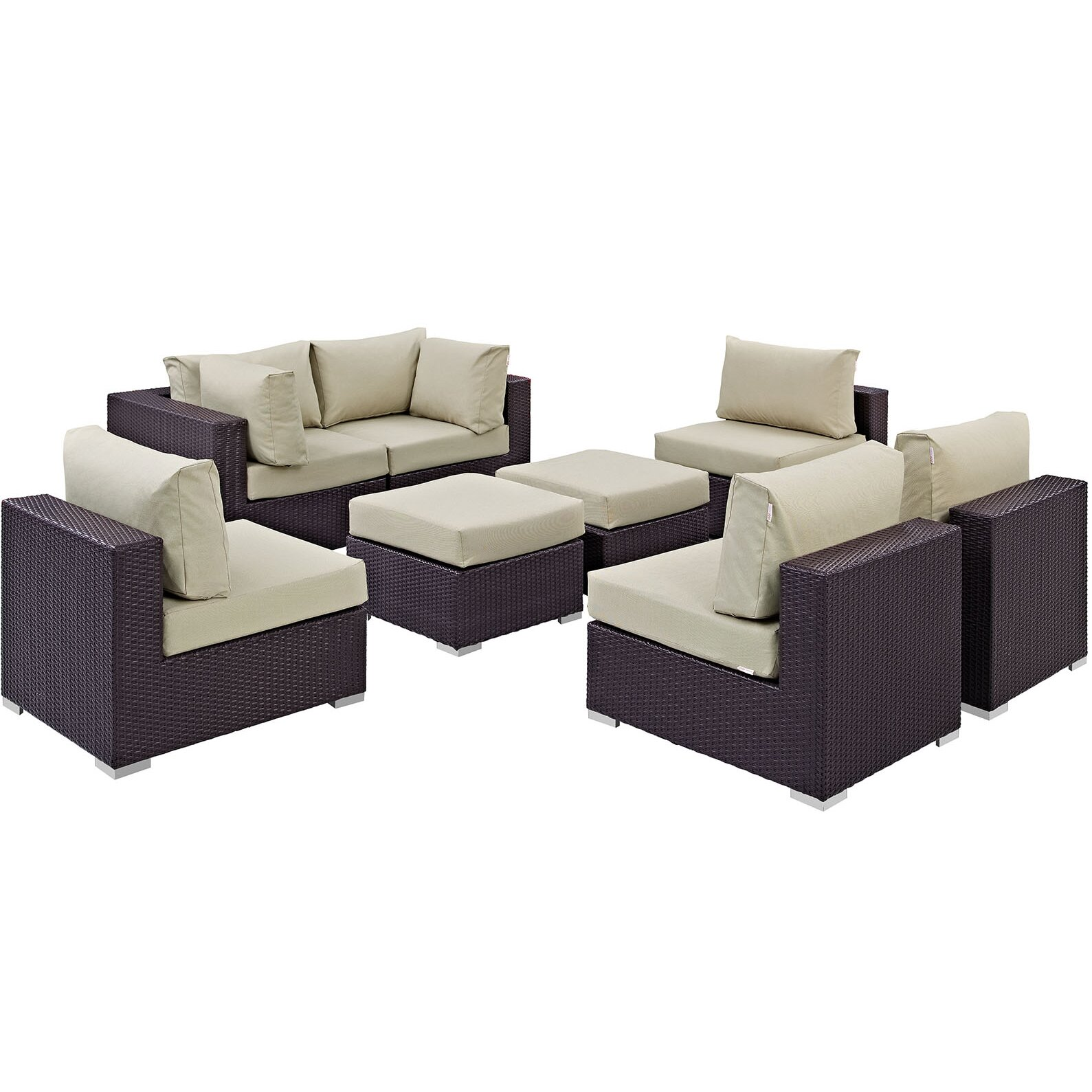 modway convene 8 outdoor patio sectional set with