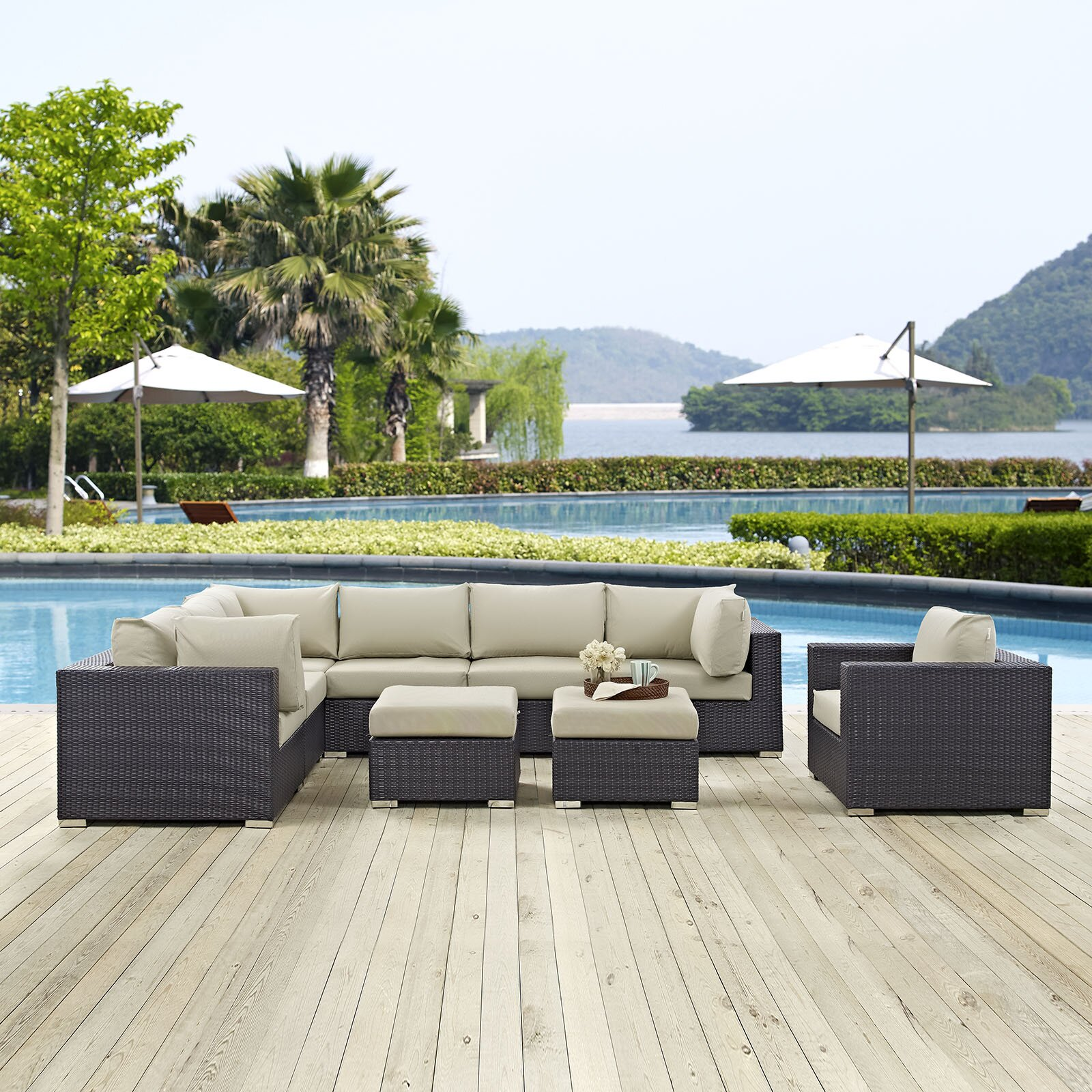Https Www Wayfair Com Modway Convene 9 Piece Outdoor Patio Sectional Set With Cushions Fow3343 Html