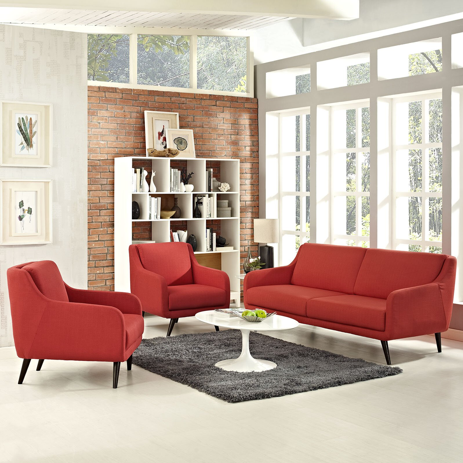 Modway verve 3 piece living room set wayfair for Living room 3 piece sets