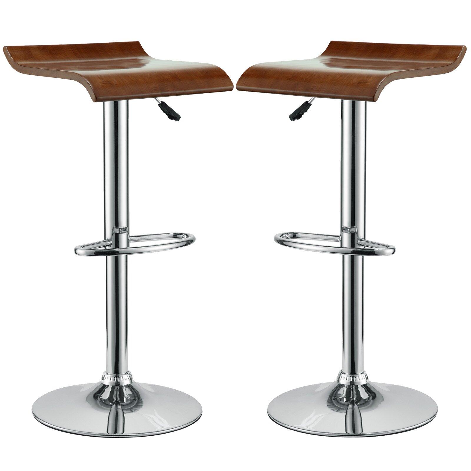 Modway Bentwood Adjustable Height Swivel Bar Stool