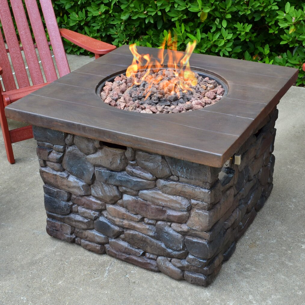 Tortuga Outdoor Yosemite Faux Wood/Stone Propane Fire Pit ...