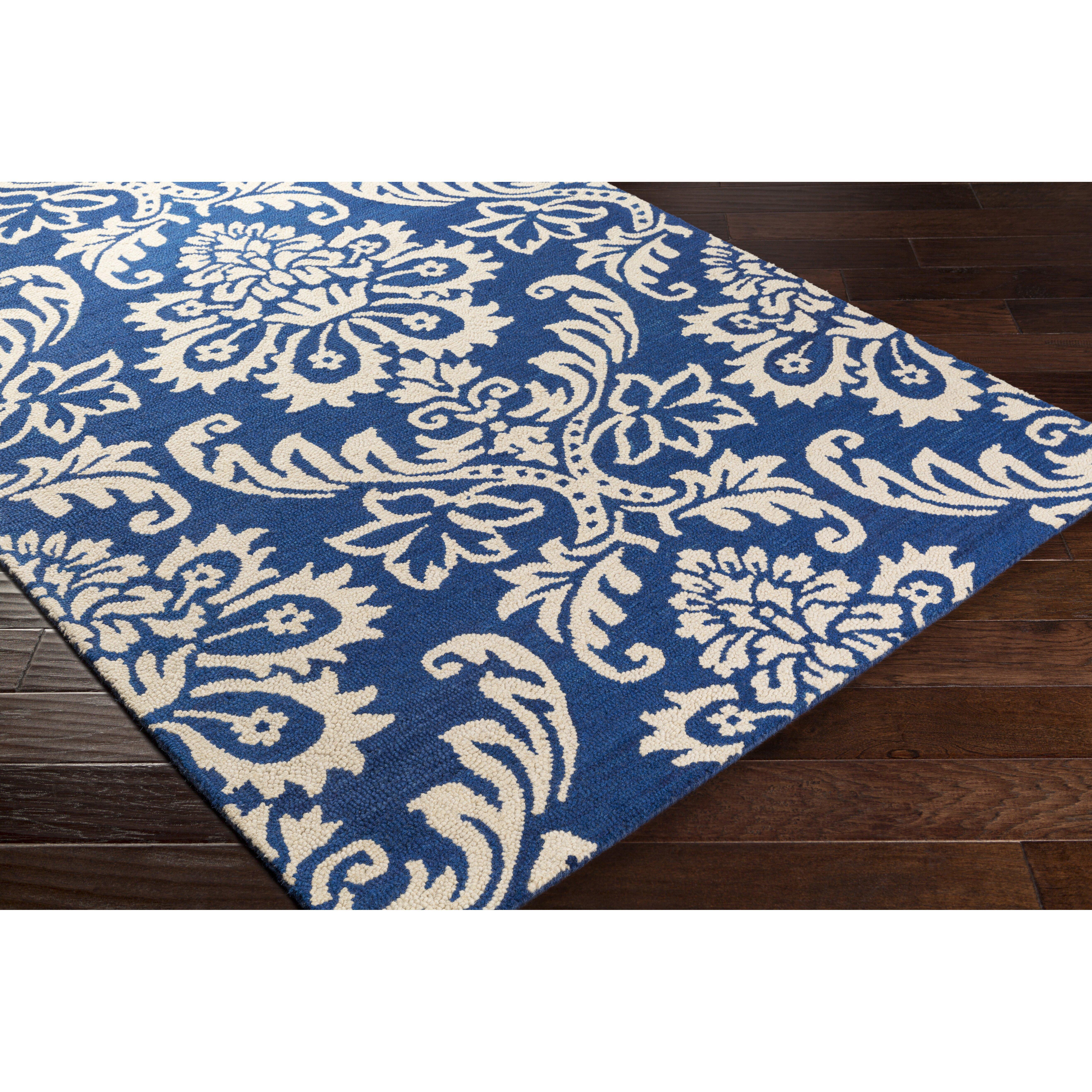 artistic weavers rhodes luna hand tufted navy off white area rug reviews wayfair. Black Bedroom Furniture Sets. Home Design Ideas