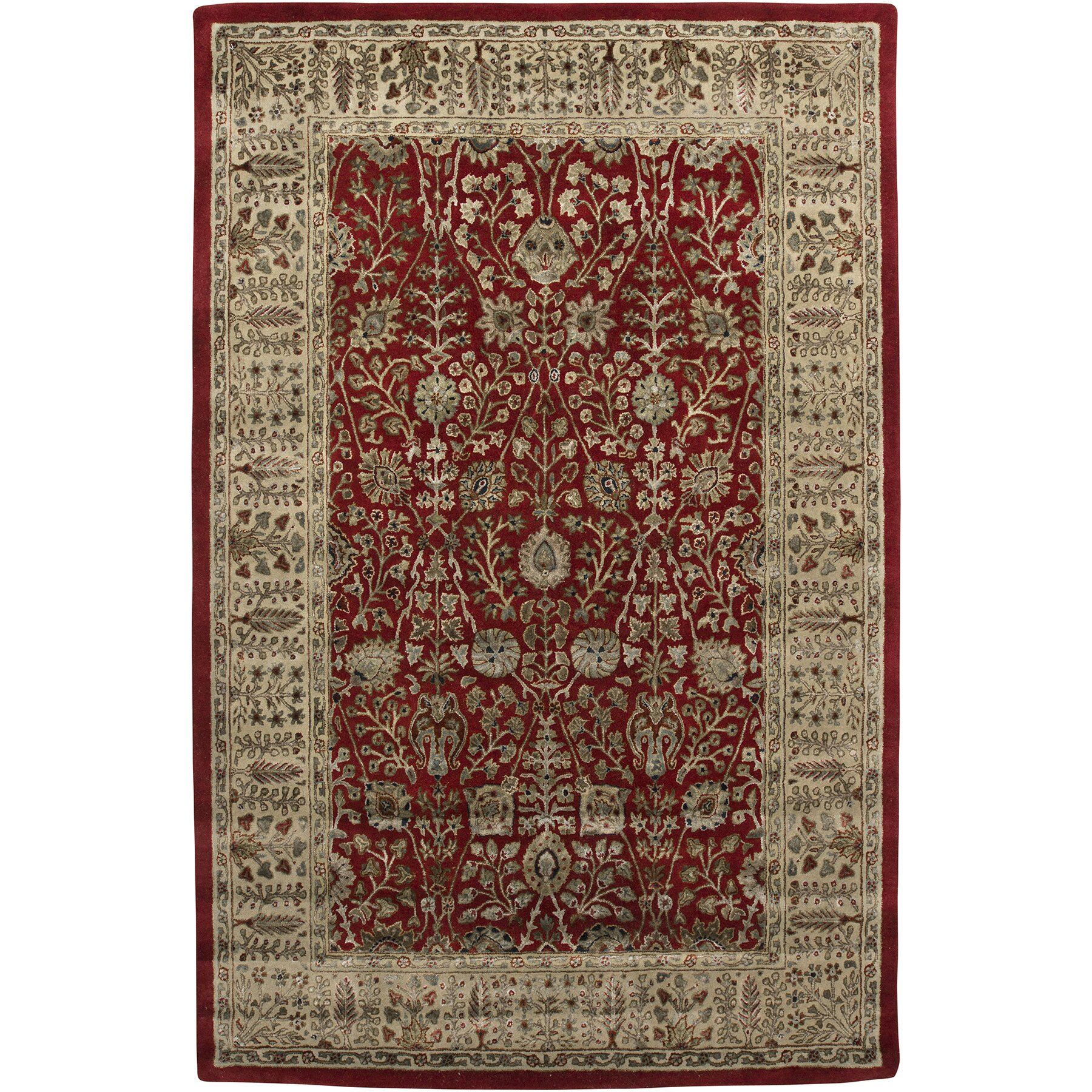 Amer rugs roshni abhati red gold area rug wayfair for Red and gold area rugs
