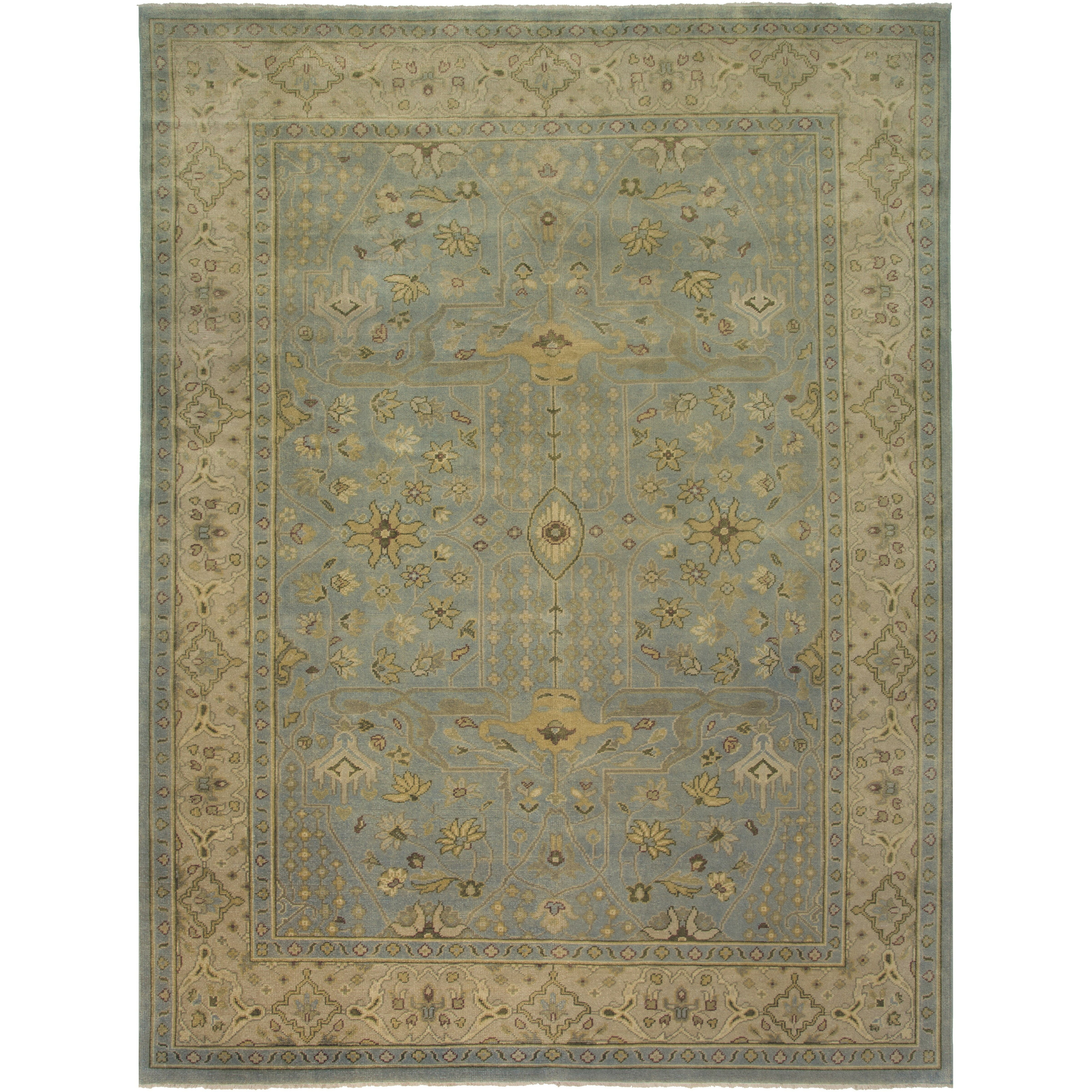 Stella Collection Hand Tufted Area Rug In Beige Light: AMER Rugs Sivas Design Light Blue Hand-Knotted Area Rug
