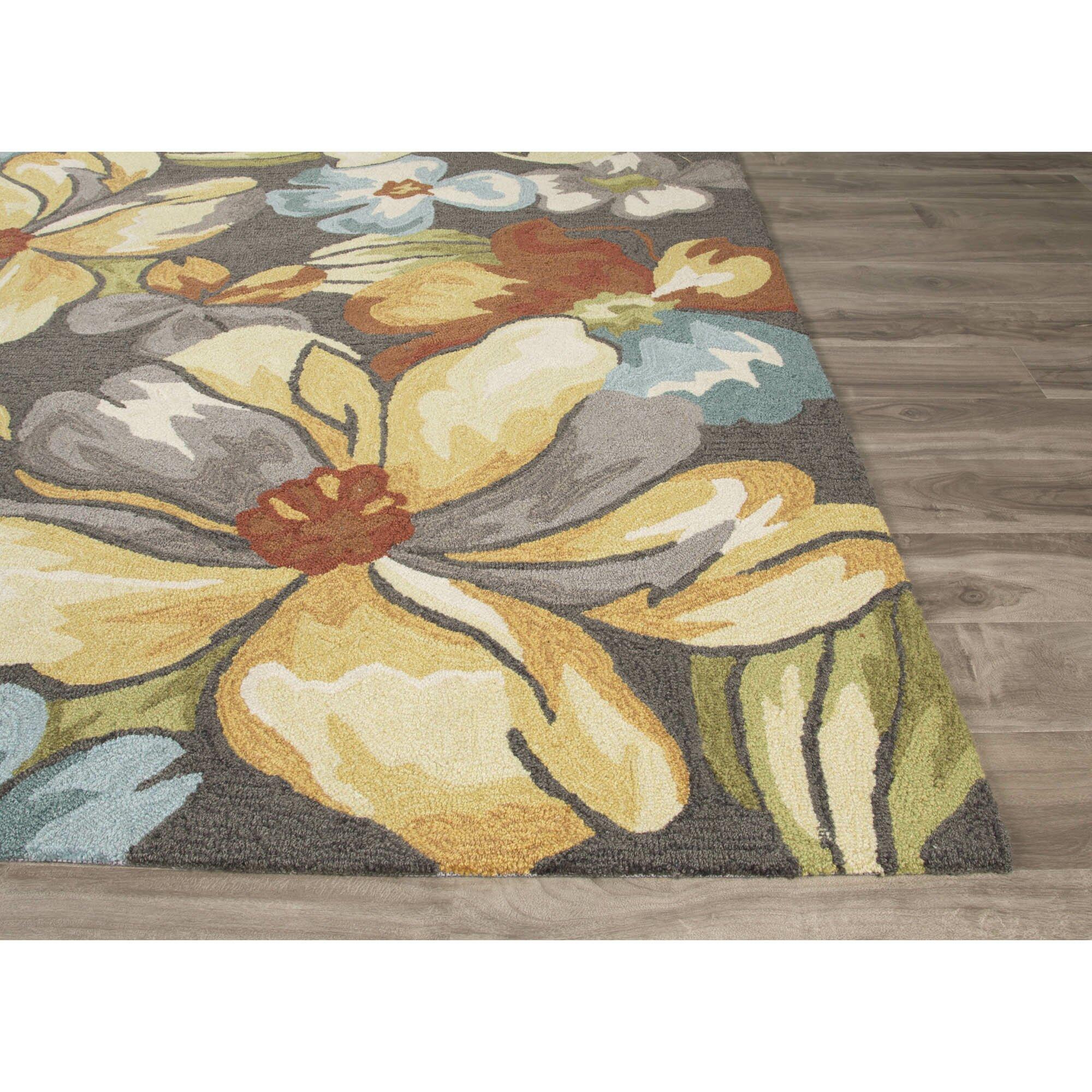 jaipurliving flora hand tufted dark gray yellow area rug wayfair. Black Bedroom Furniture Sets. Home Design Ideas