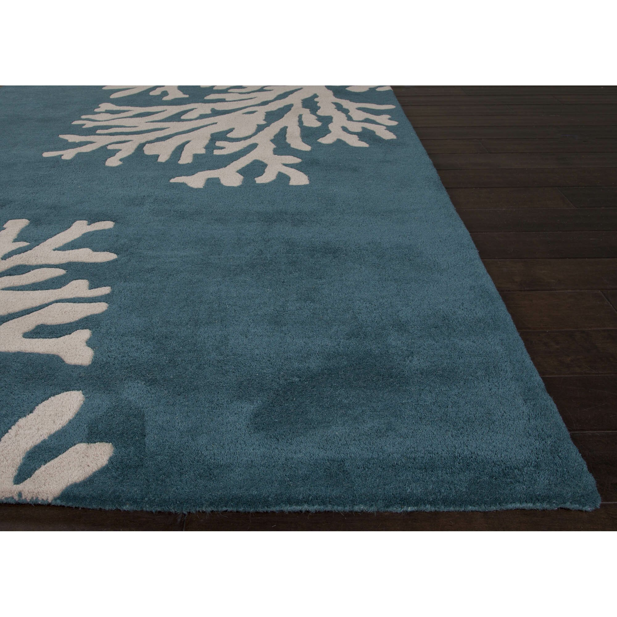 Dog Eating Wool Rug: JaipurLiving Coastal Seaside Wool Hand Tufted Blue & Ivory