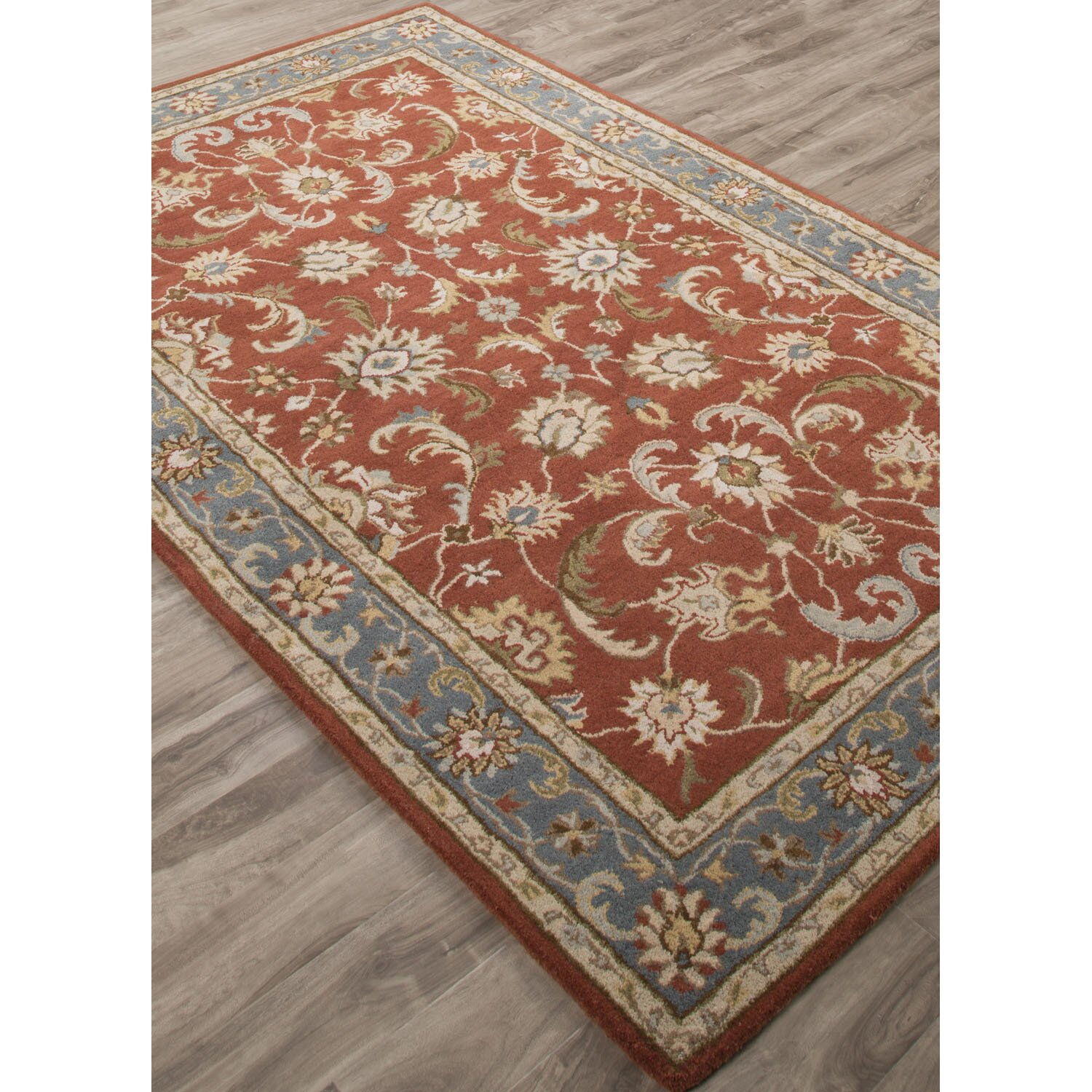 Jaipurliving poeme hand tufted red blue area rug wayfair for Red and blue area rug