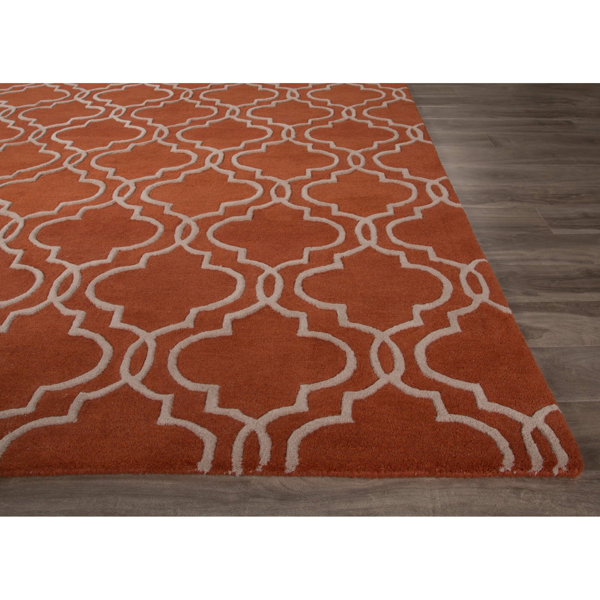 Jaipurliving lounge hand tufted orange ivory area rug for Throw rugs for lounge