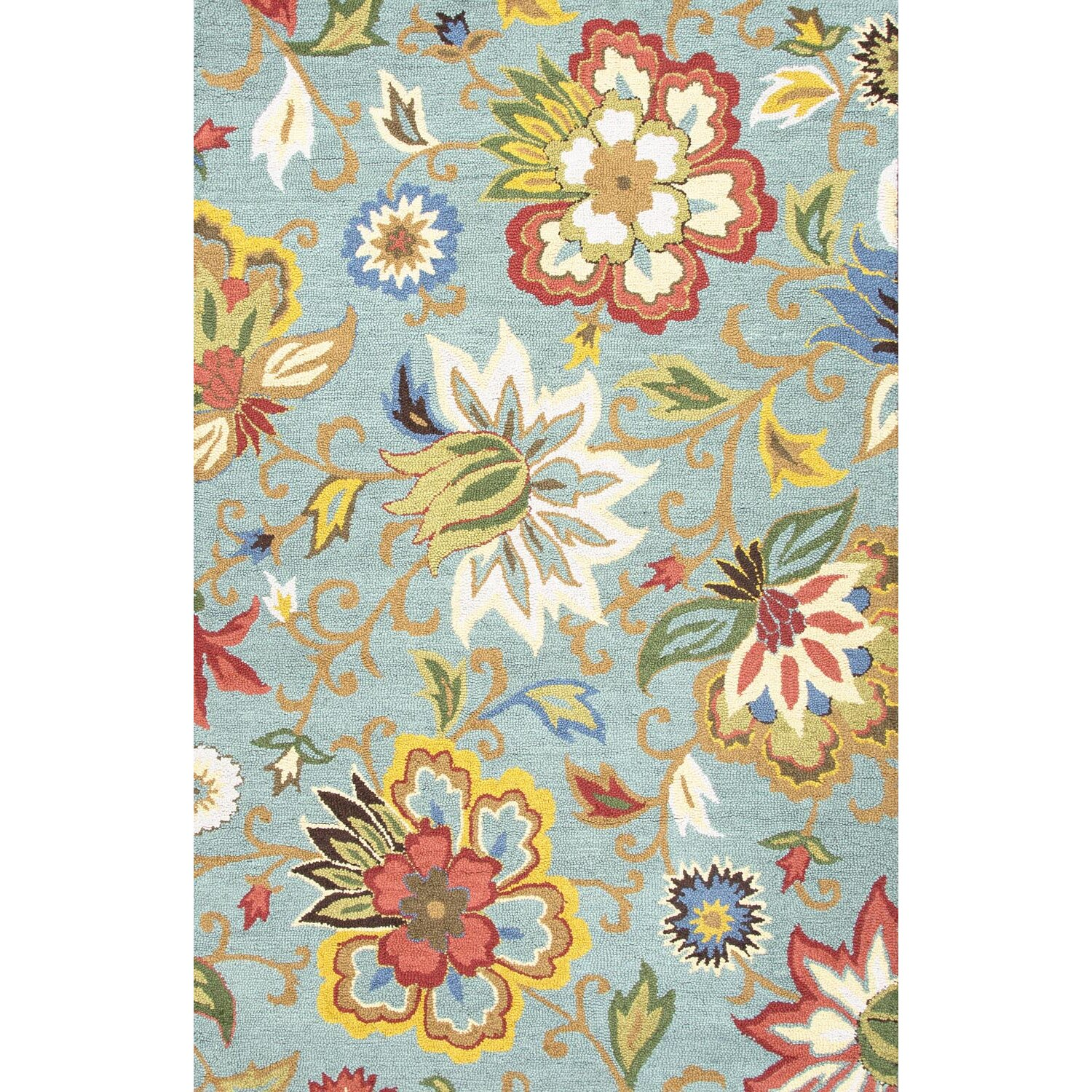 Jaipurliving Hacienda Light Turquoise Floral Area Rug