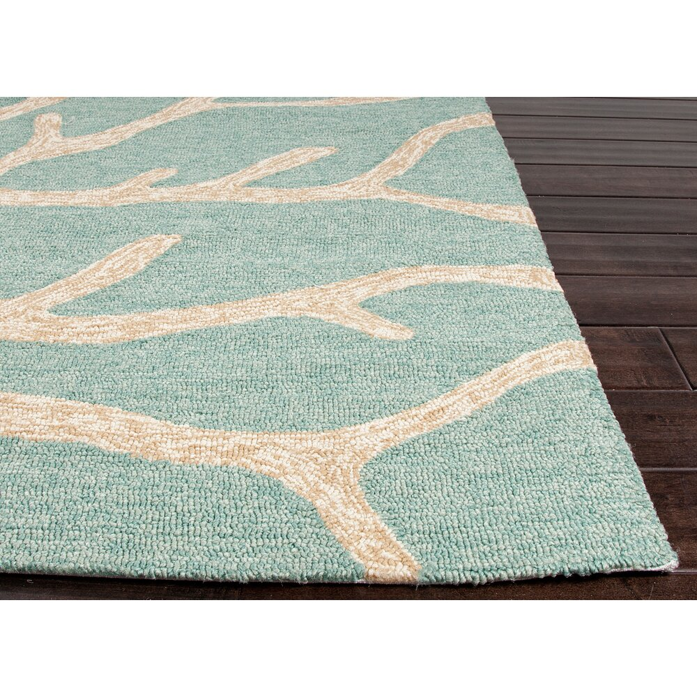 Jaipurliving coastal lagoon teal latte indoor outdoor area for Indoor out door rugs