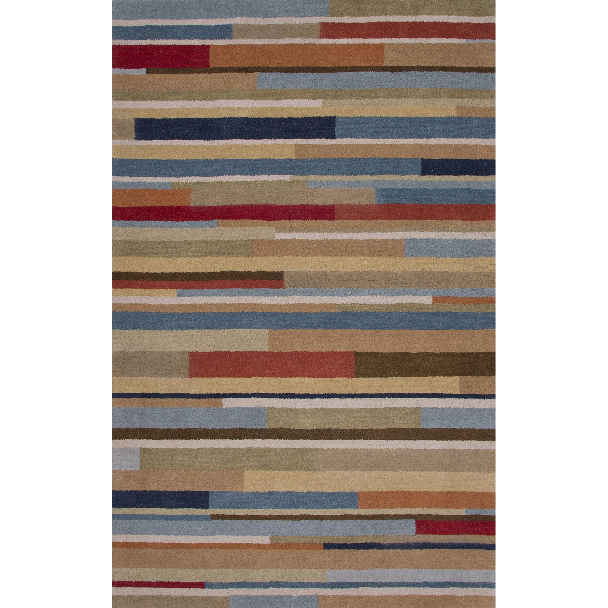 Jaipurliving traverse wool hand tufted blue red area rug for Red and blue area rug