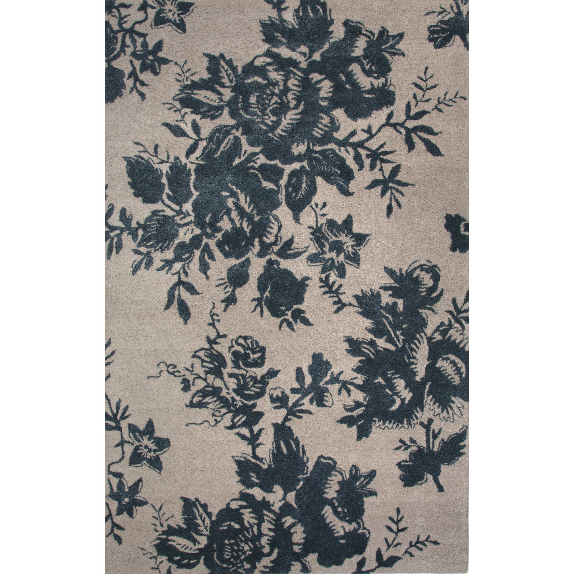 Dog Eating Wool Rug: JaipurLiving Shadow Wool And Art Silk Oyster Gray/Blue