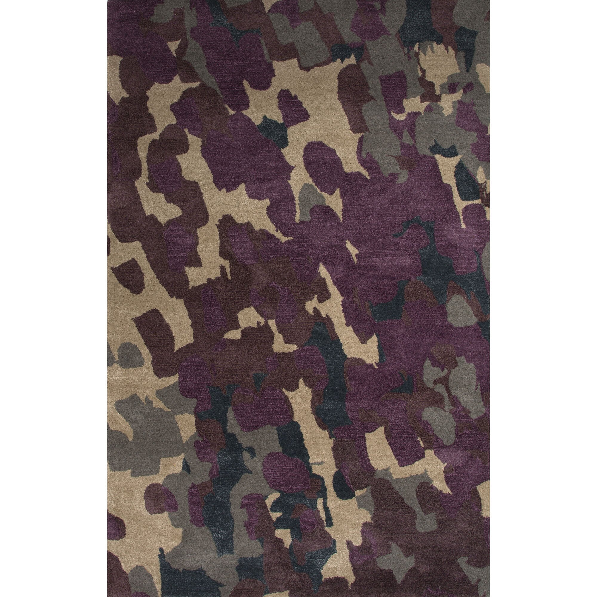 Dog Eating Wool Rug: JaipurLiving Blue Wool And Art Silk Hand Tufted Purple
