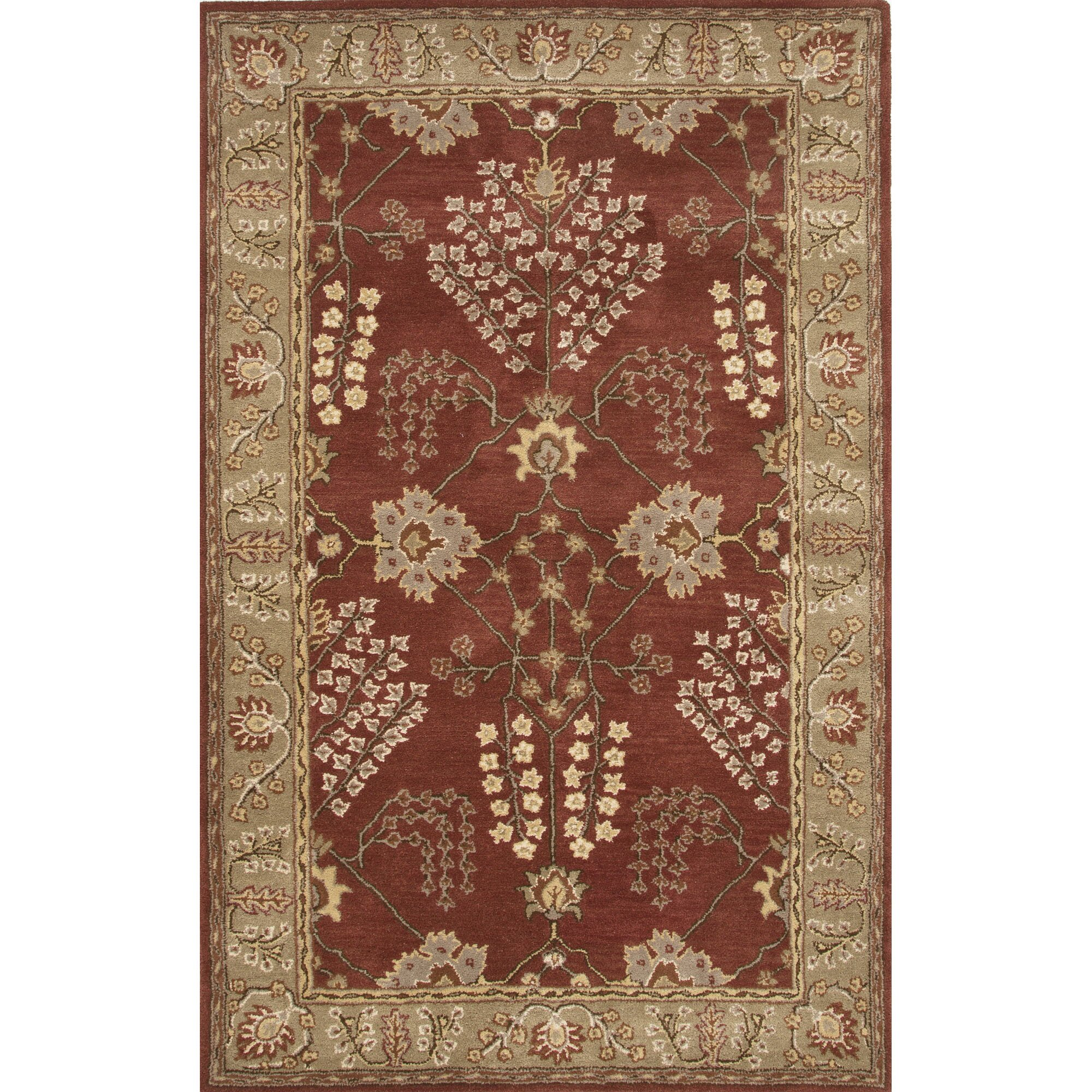 Dog Eating Wool Rug: JaipurLiving Poeme Wool Hand Tufted Red/Ivory Area Rug