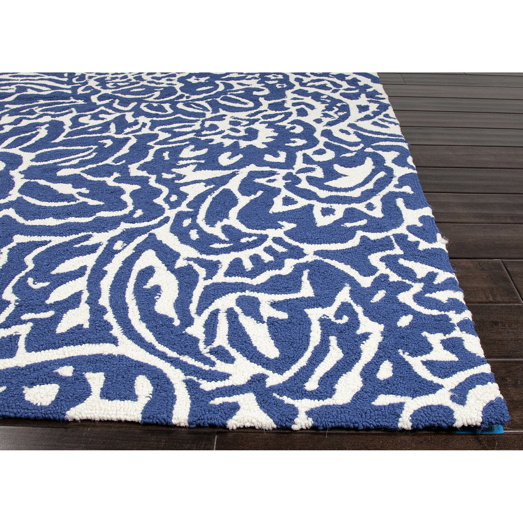 jaipurliving barcelona flores blue indoor outdoor area rug. Black Bedroom Furniture Sets. Home Design Ideas