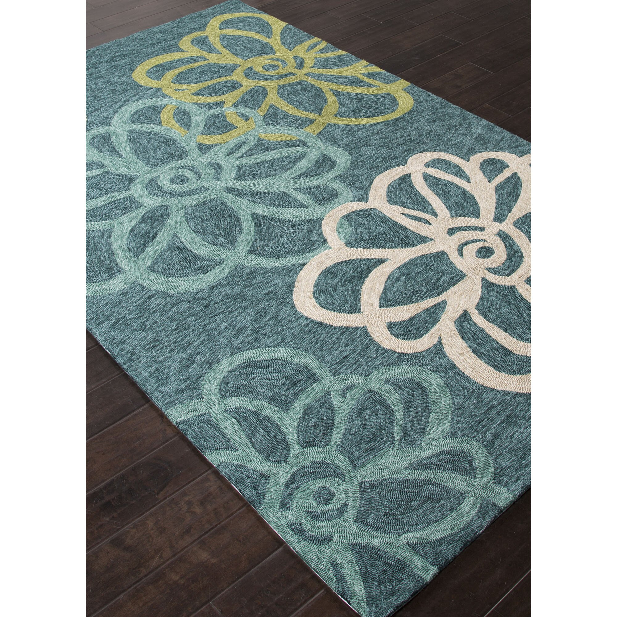 JaipurLiving Catalina Blue / Green Floral Indoor / Outdoor