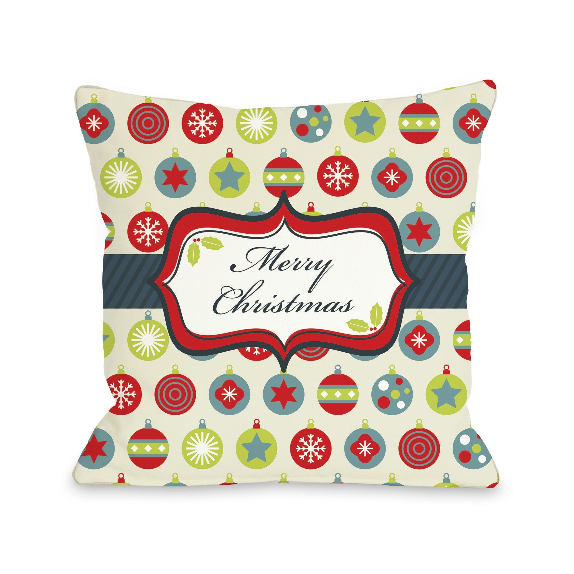 One Bella Casa Holiday Merry Christmas Ornaments Throw Pillow & Reviews Wayfair