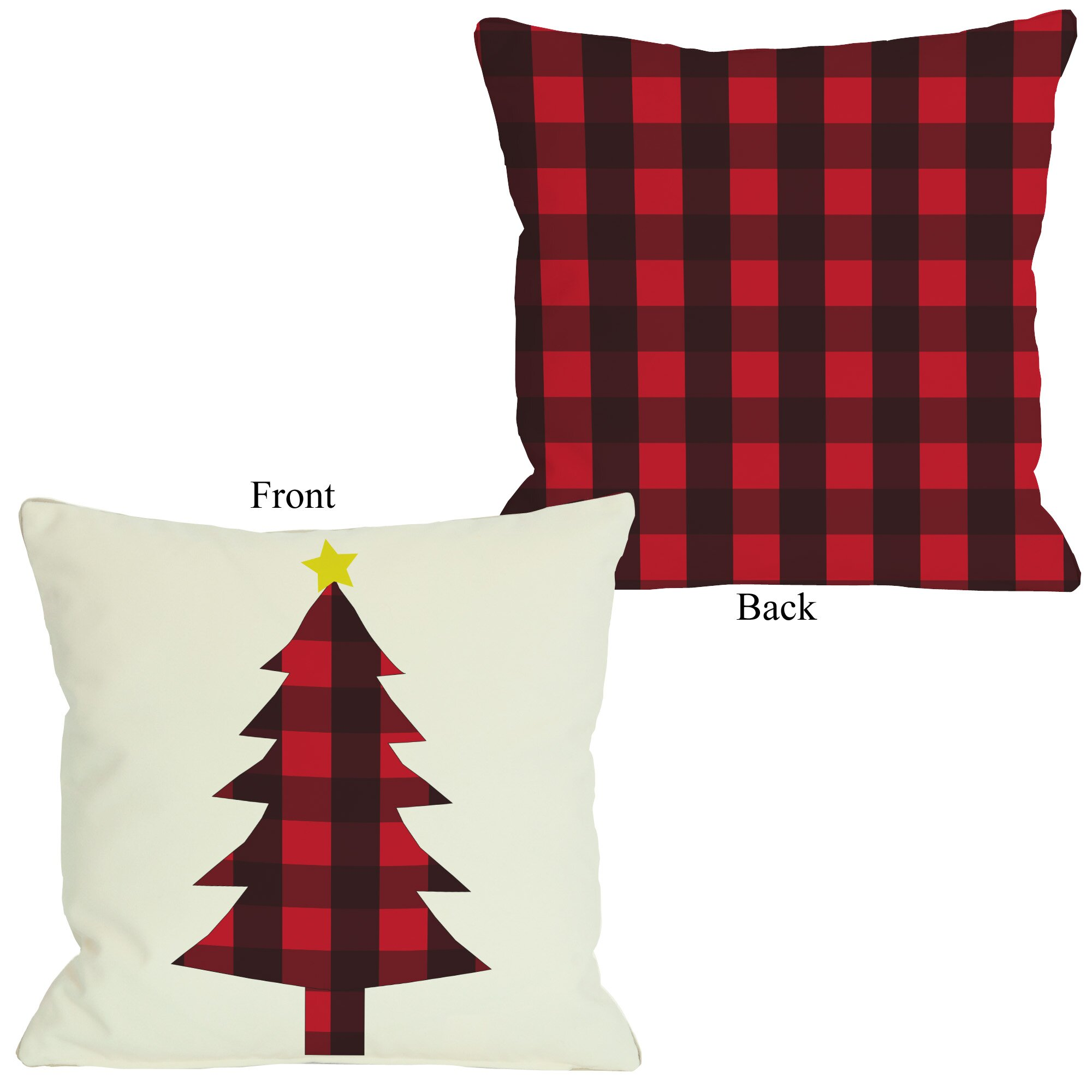 one bella casa plaid christmas tree throw pillow reviews. Black Bedroom Furniture Sets. Home Design Ideas