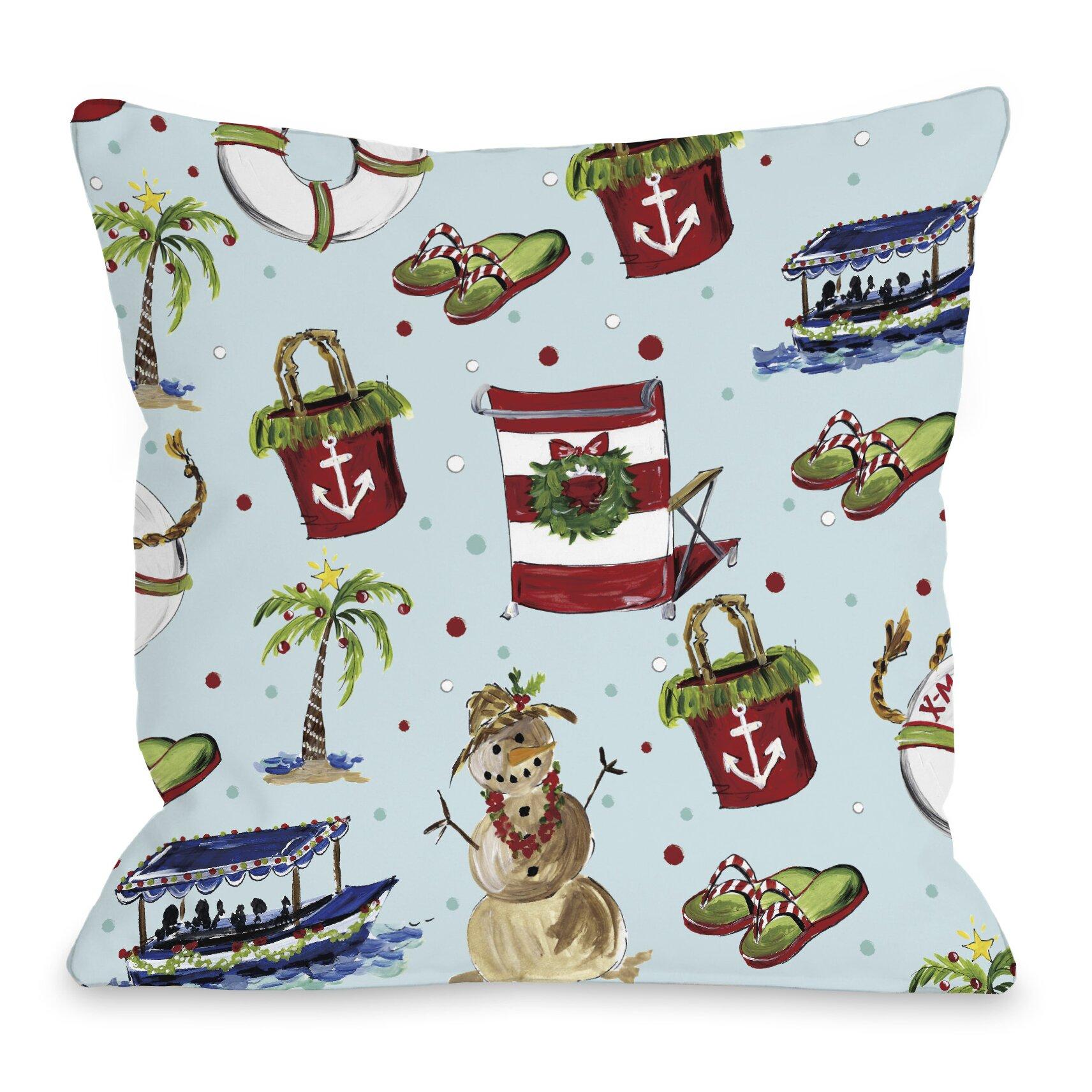 One Bella Casa Beach Christmas Throw Pillow & Reviews Wayfair