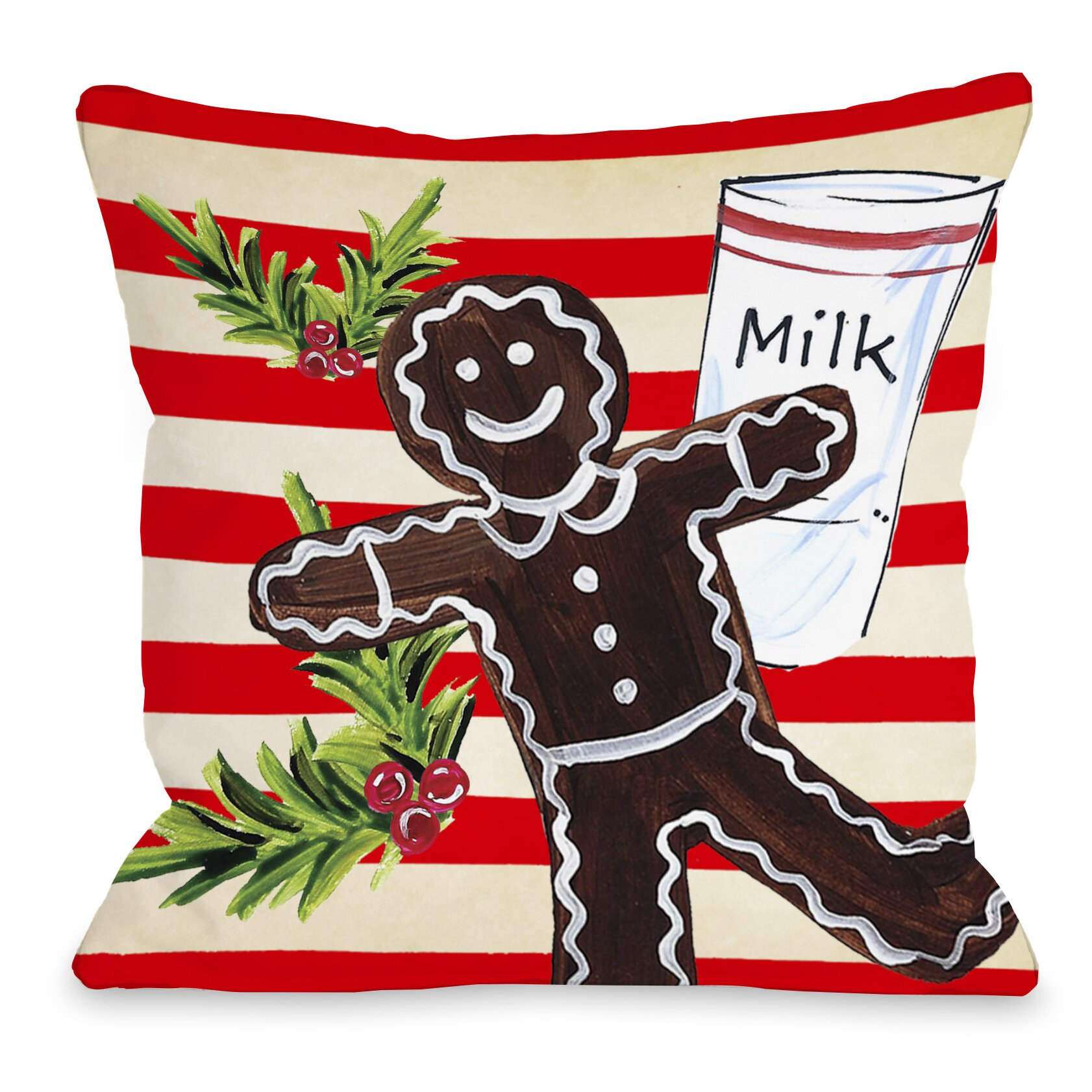 Gingerbread Decorative Pillows : One Bella Casa Gingerbread Cookie and Milk Throw Pillow & Reviews Wayfair