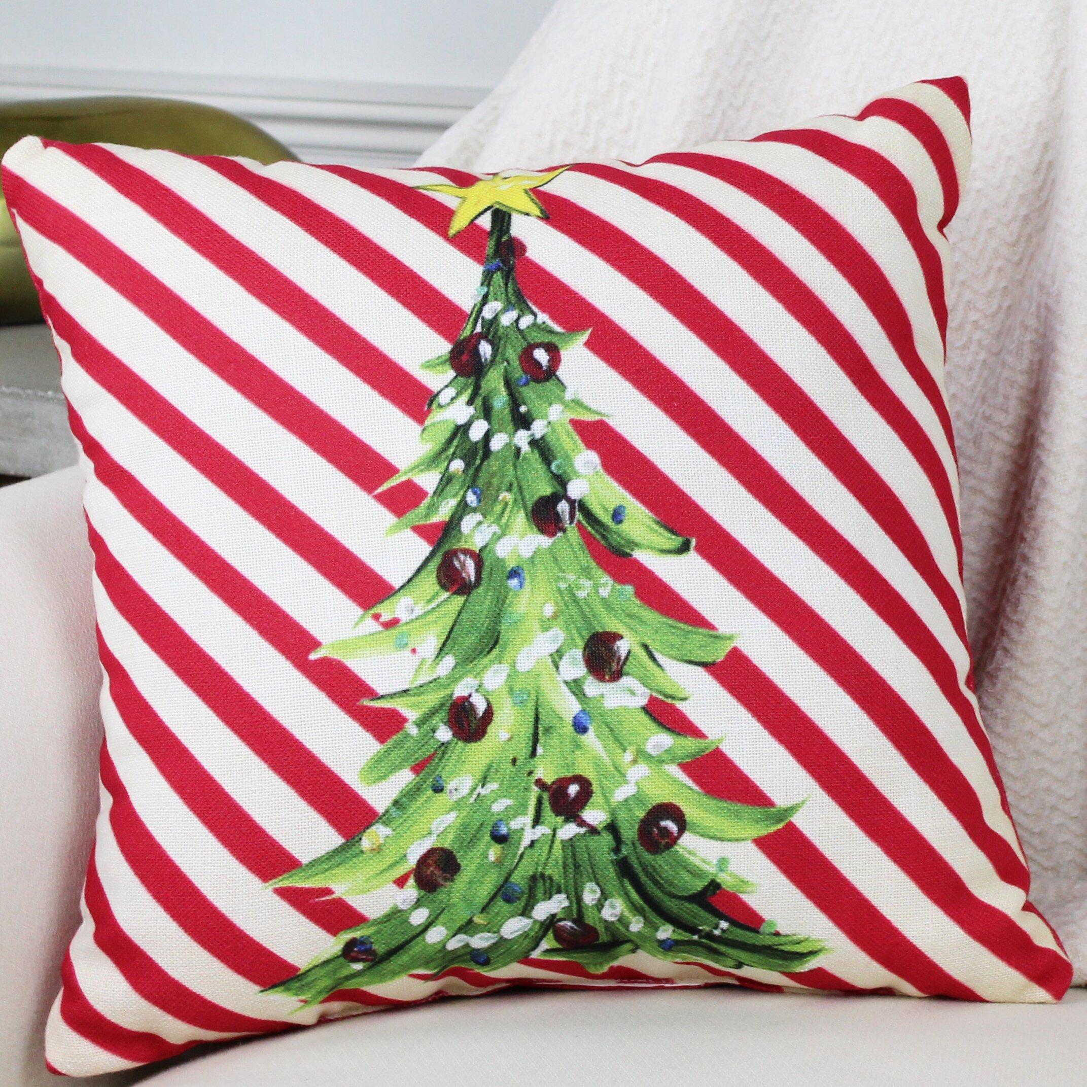 One Bella Casa Christmas Tree Stripes Throw Pillow & Reviews Wayfair