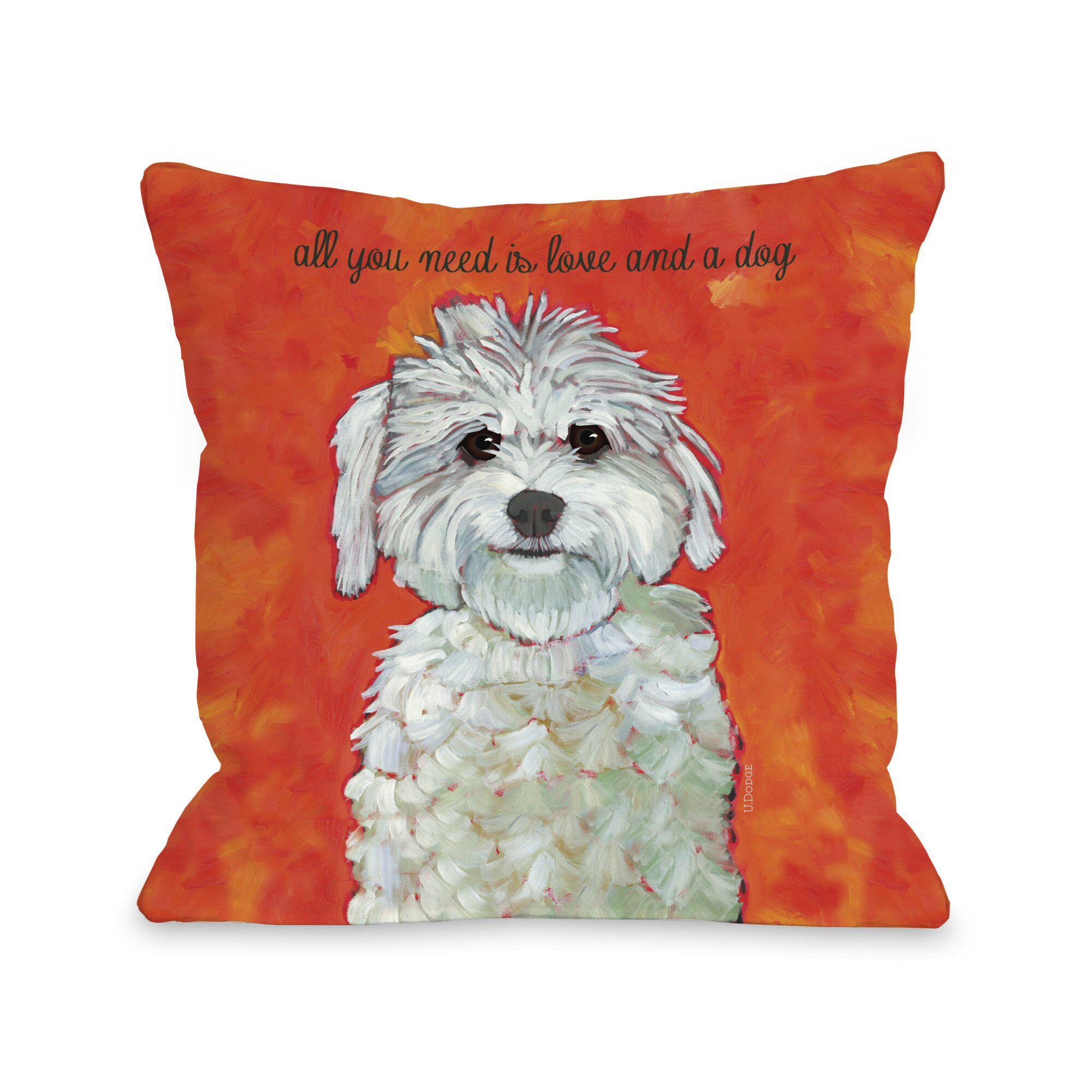 One Bella Casa Doggy Decor Love & A Dog Throw Pillow & Reviews Wayfair