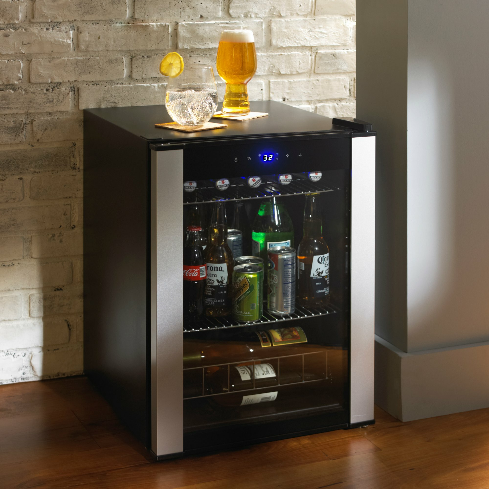 Wine enthusiast companies evolution compact beverage for Beer and wine cooler table