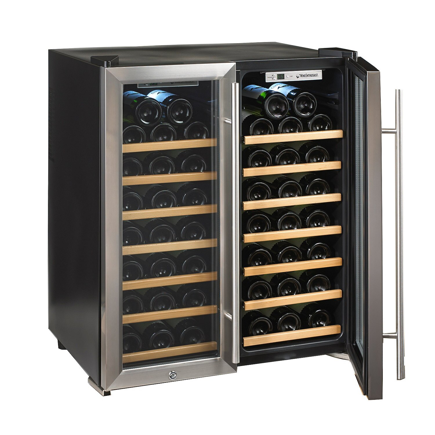 wine enthusiast companies silent series 48 bottle dual zone free standing wine refrigerator. Black Bedroom Furniture Sets. Home Design Ideas
