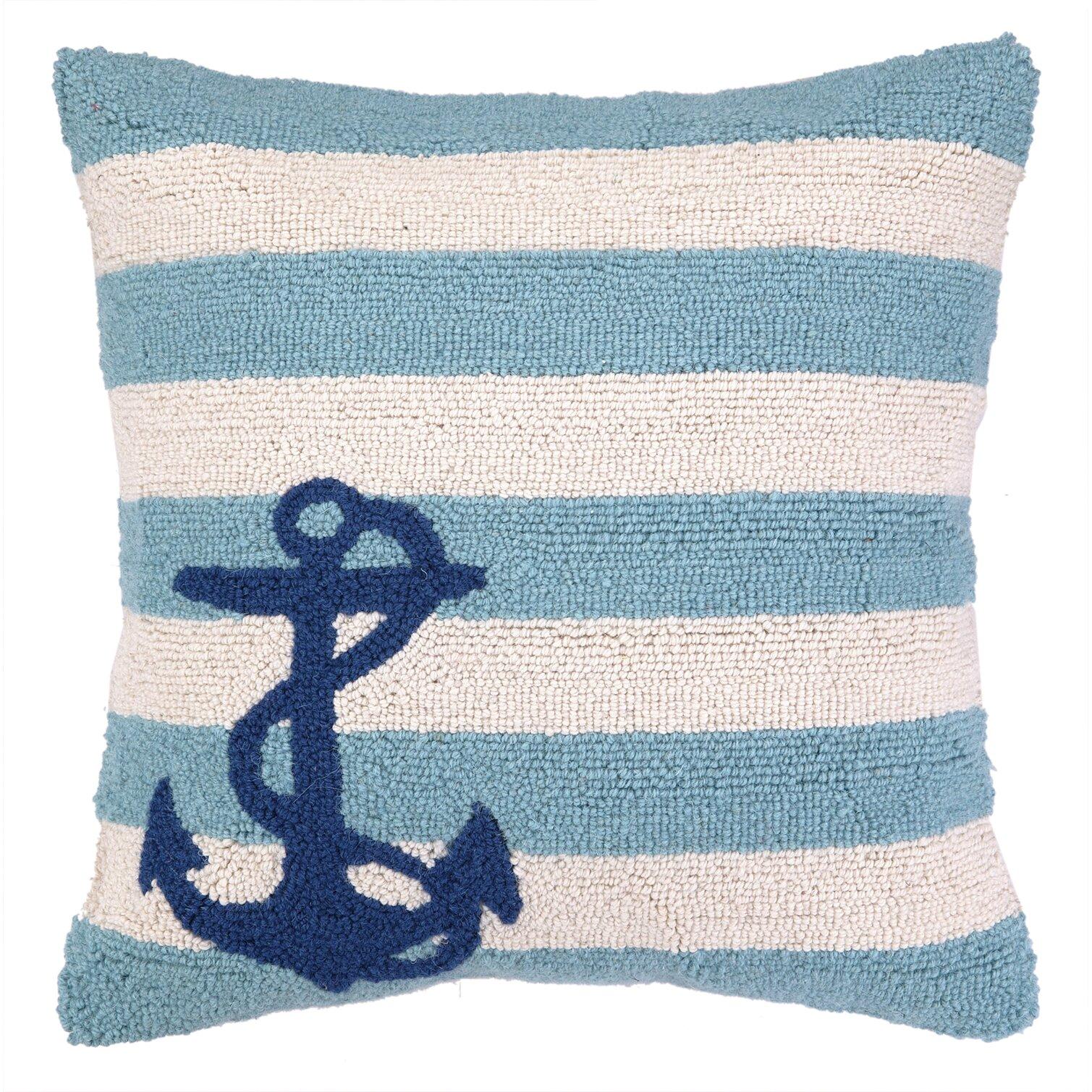 Throw Pillow Nautical : Peking Handicraft Nautical Hook Anchor Stripes Throw Pillow & Reviews Wayfair